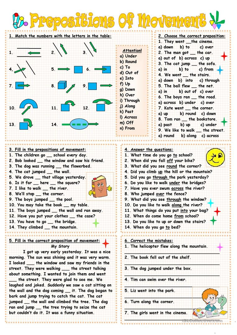 Preposition Worksheets Middle School Prepositions Movement English Esl Worksheets for Distance