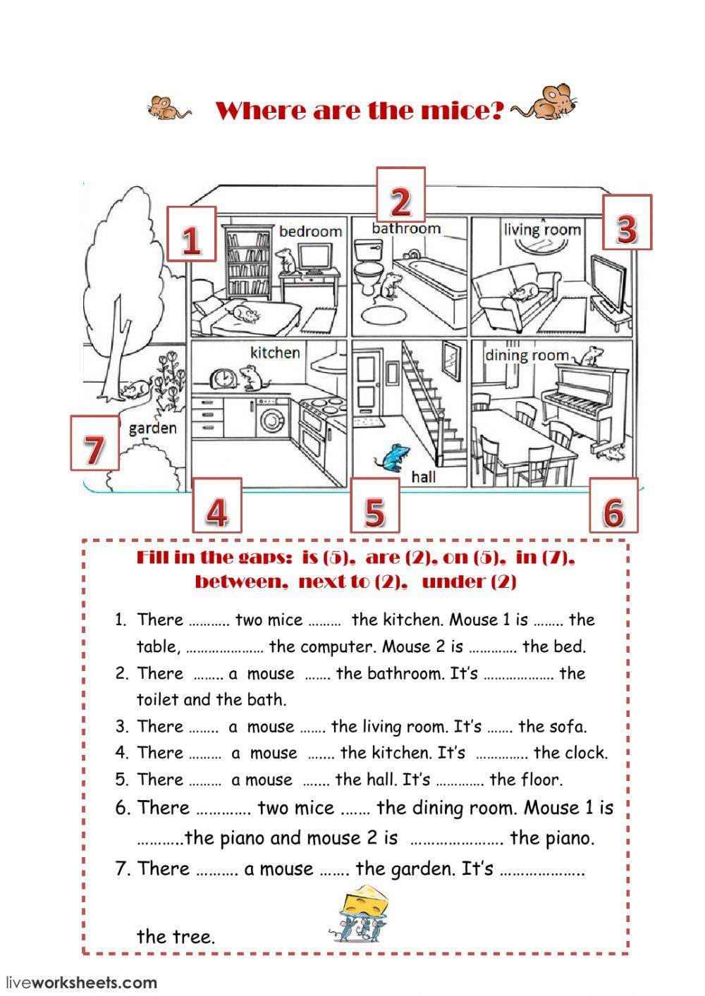 Preposition Worksheets Middle School Prepositions Of Place Interactive and Able Worksheet