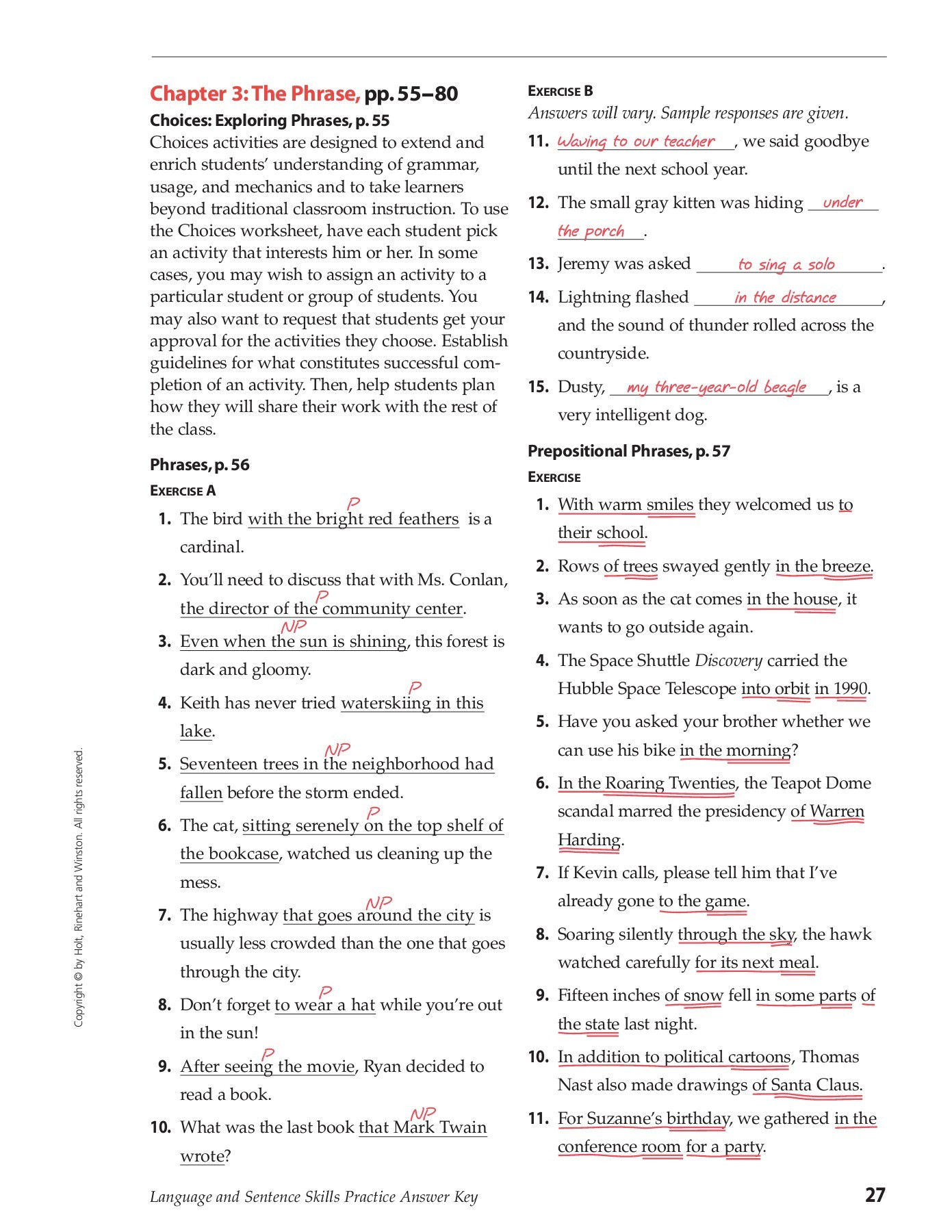Prepositional Phrase Worksheet 4th Grade Chapter 3 the Phrase Pp 55 80 E B Hinsdale south High