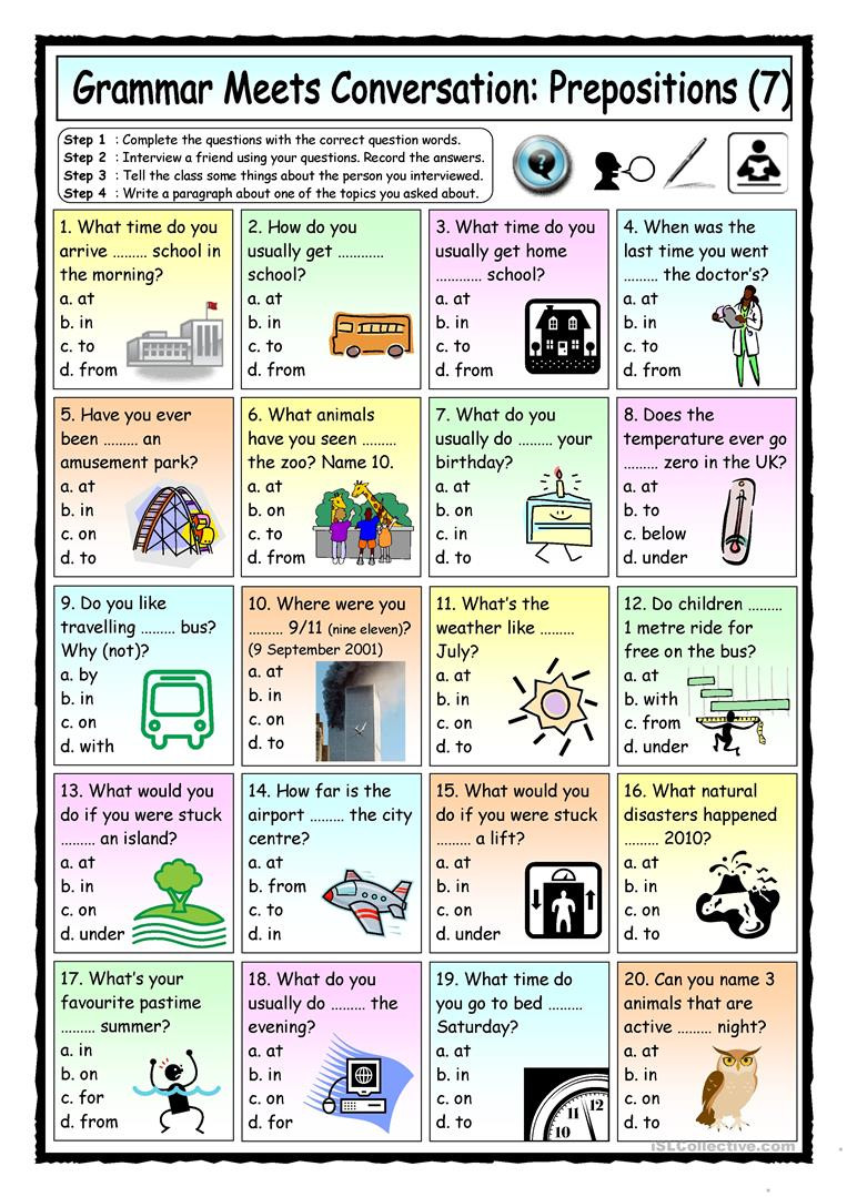 Prepositions Worksheets Middle School Grammar Meets Conversation Prepositions 7 asking