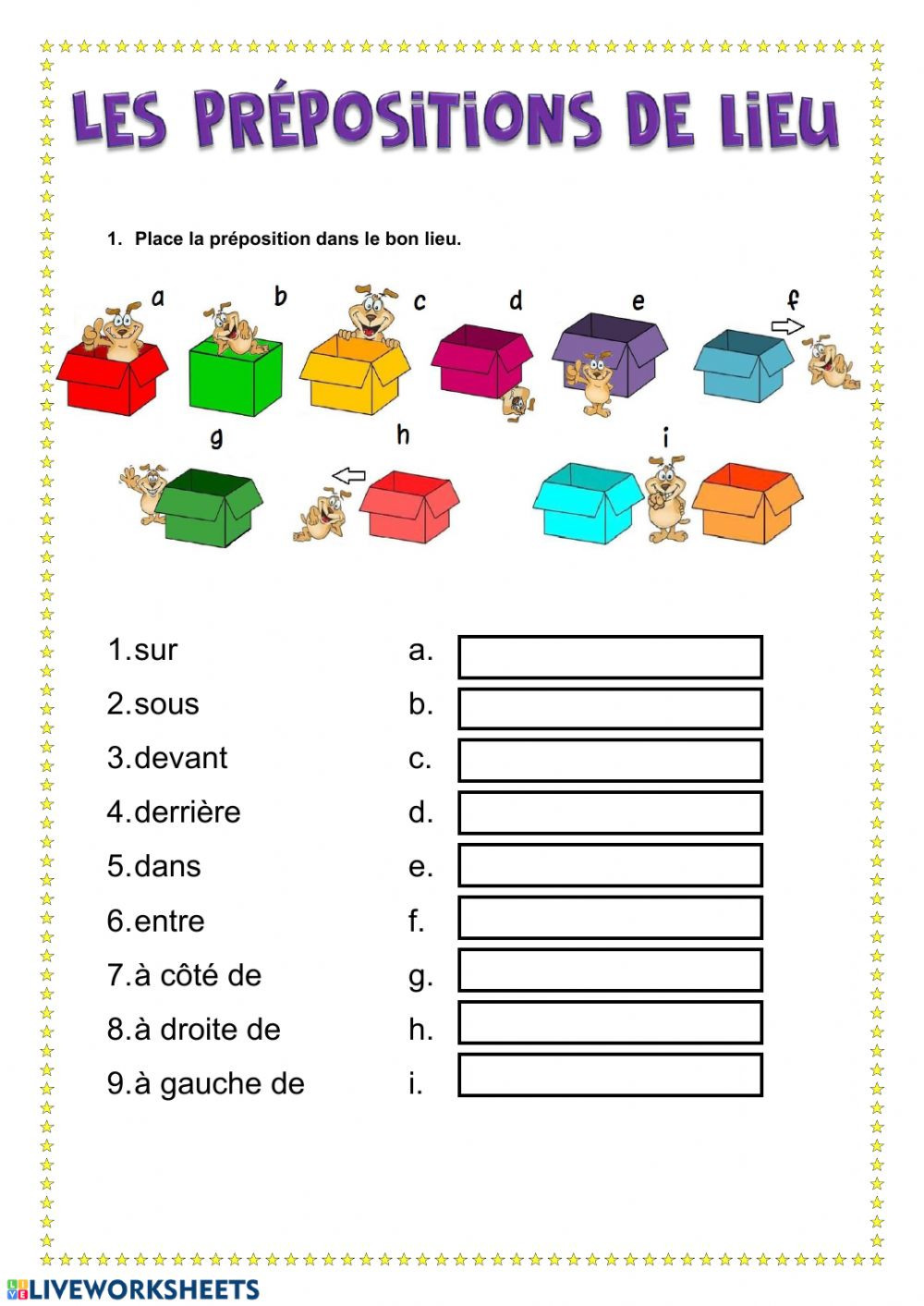 Prepositions Worksheets Middle School Les Prépositions Lieu Interactive Worksheet Prepositions
