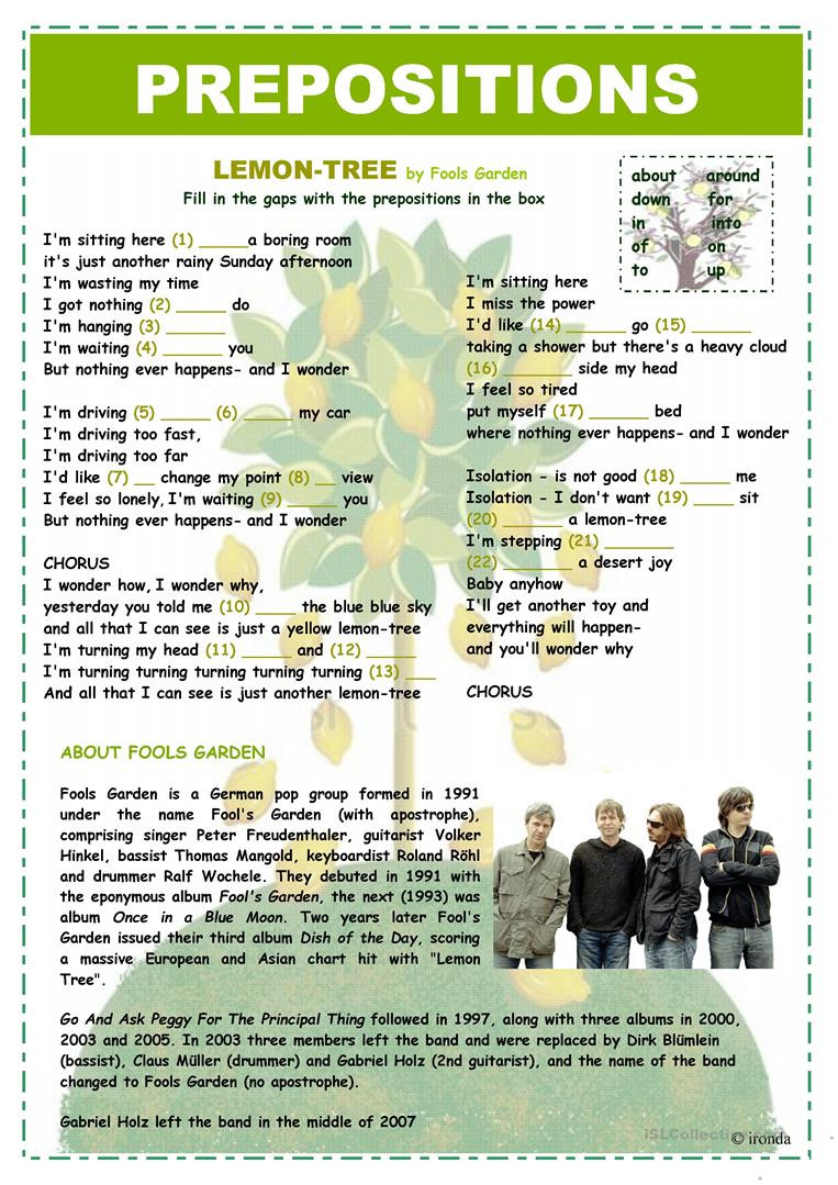 Prepositions Worksheets Middle School Prepositions Lemon Tree English Esl Worksheets for