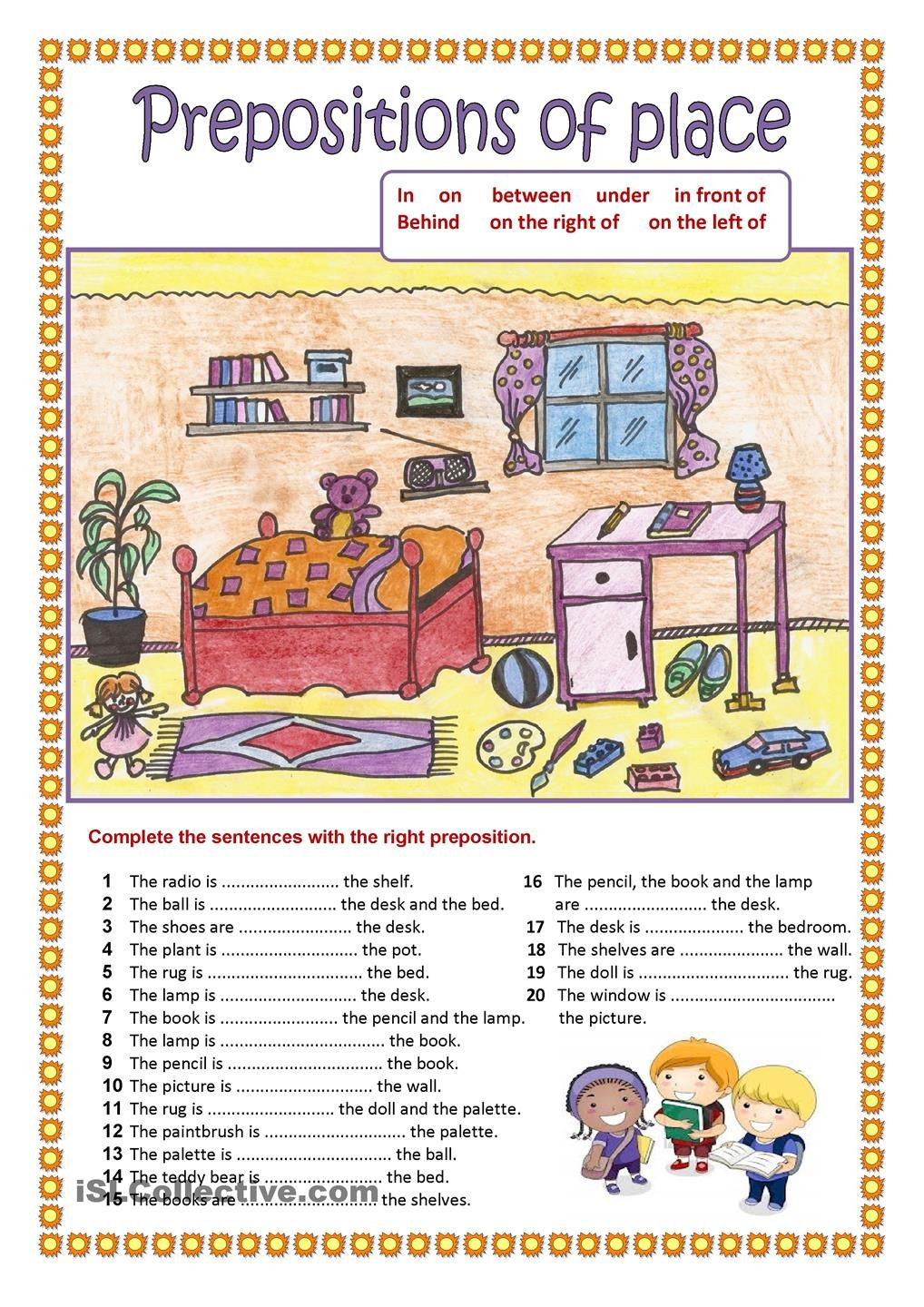 Prepositions Worksheets Middle School Prepositions Of Place 2