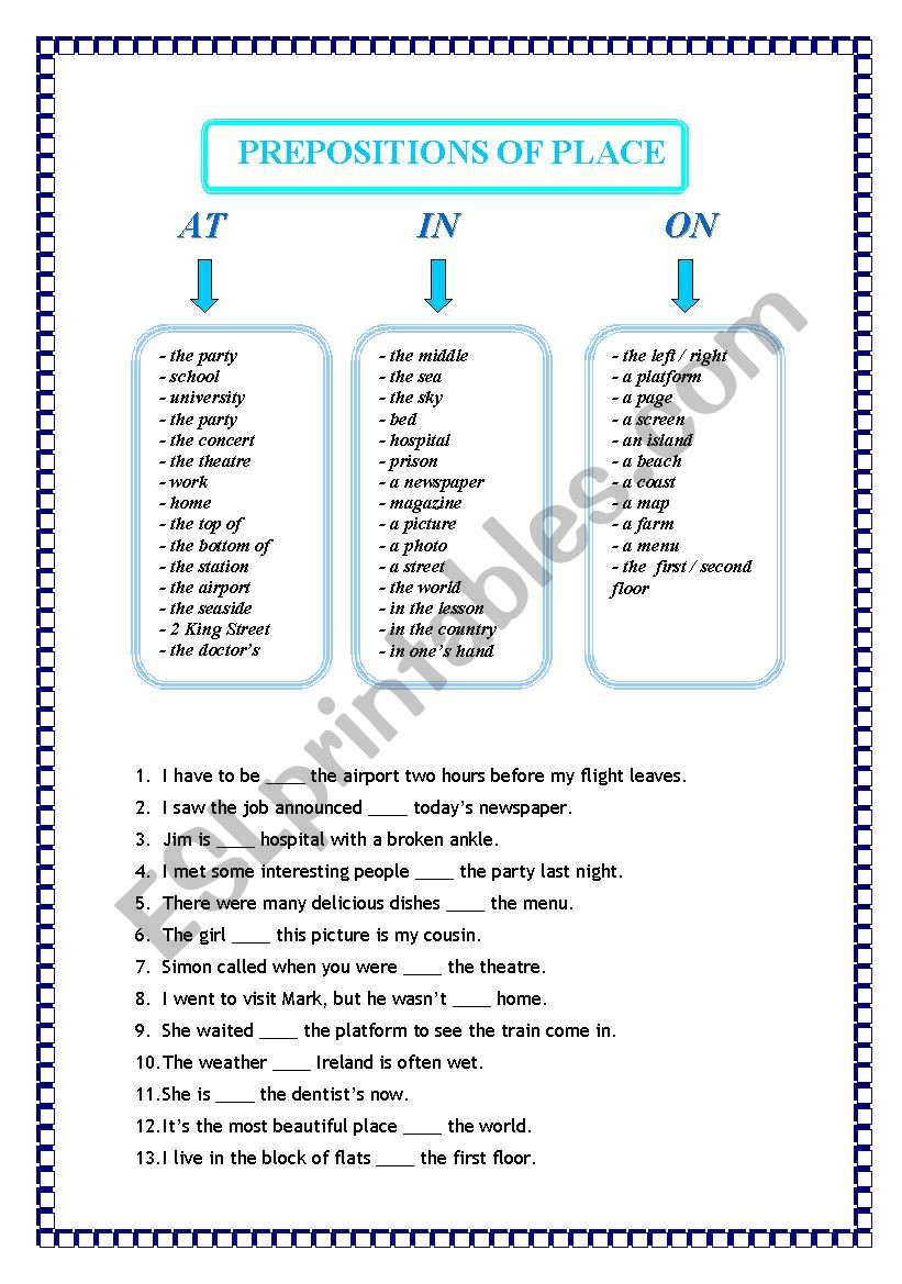 Prepositions Worksheets Middle School Prepositions Of Place Esl Worksheet by A K