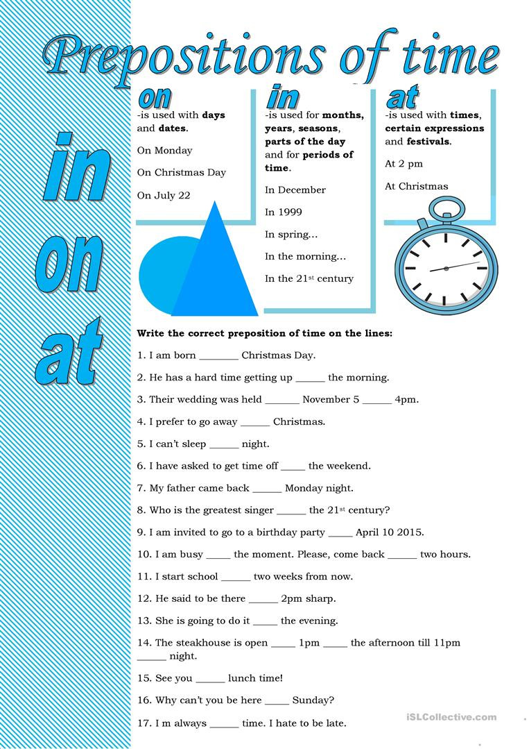 Prepositions Worksheets Middle School Prepositions Of Time English Esl Worksheets for Distance