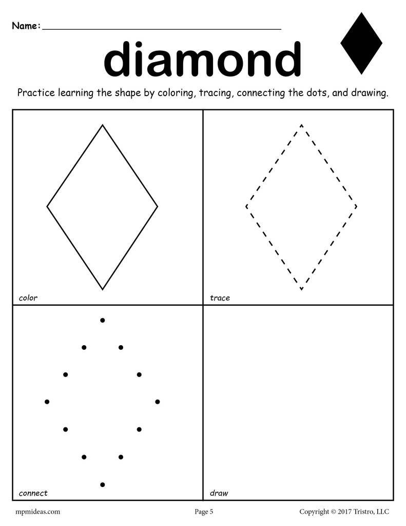 12 Shapes Worksheets Color Trace Connect & Draw