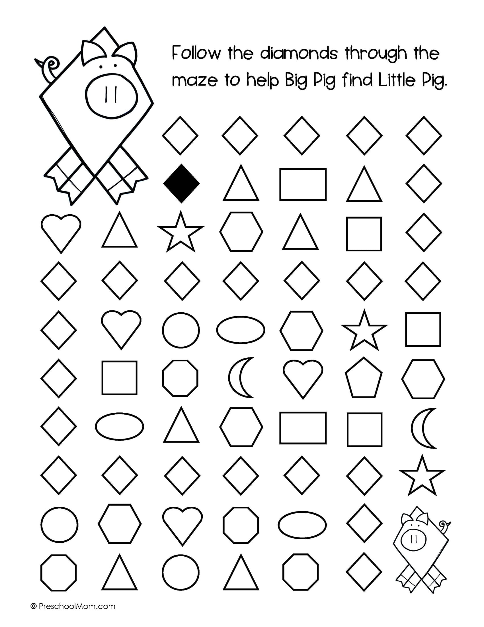 Preschool Diamond Shape Worksheets Diomand Shape Worksheets