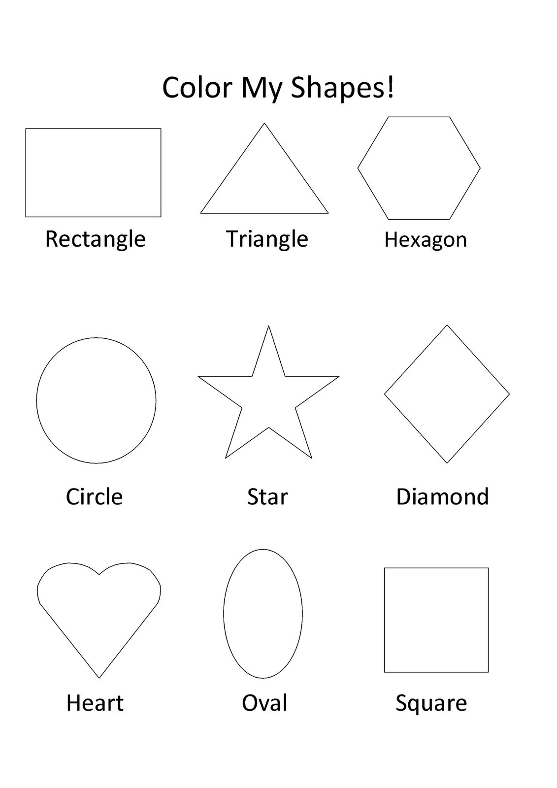 Preschool Diamond Shape Worksheets Free Printable Shapes Coloring for Kids Basic Color My