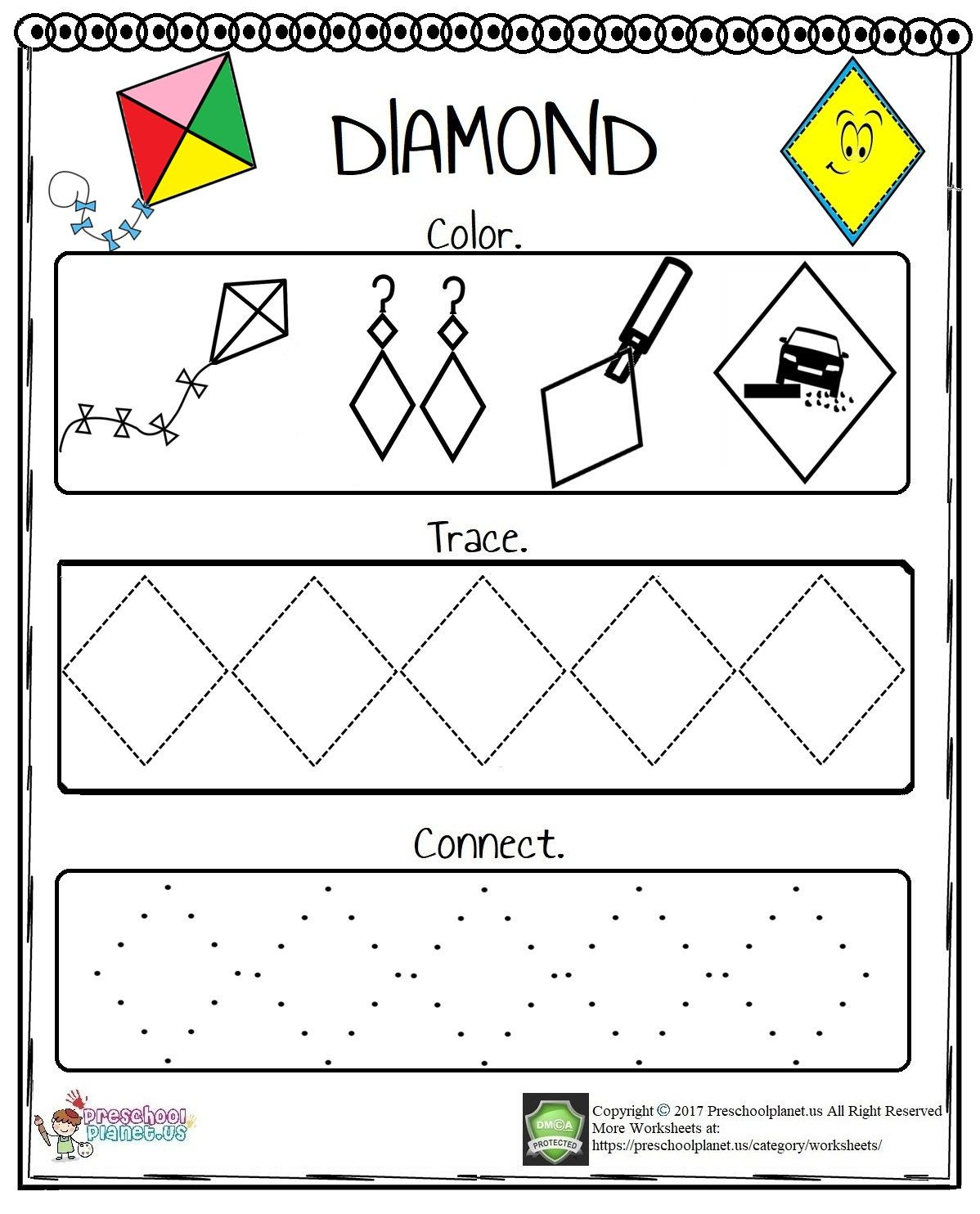 Preschool Diamond Shape Worksheets It is Very Easy to Teach Diamond Shape to Little Ones with