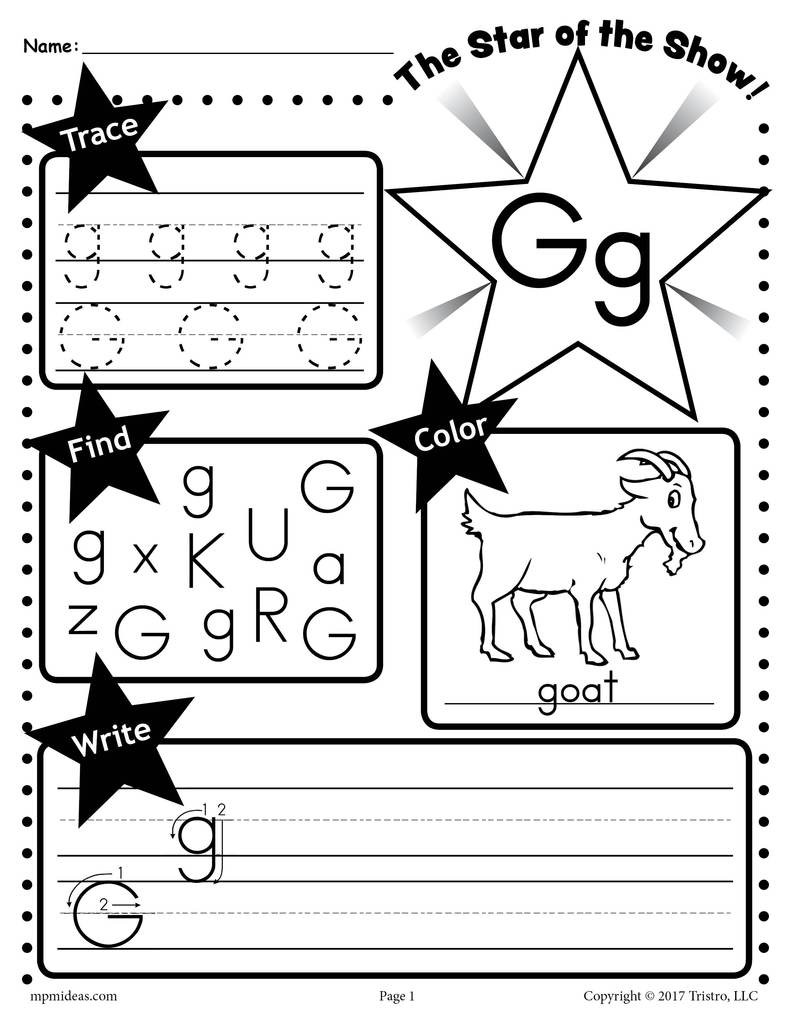 Preschool Letter G Worksheets Letter G Worksheet Tracing Coloring Writing & More