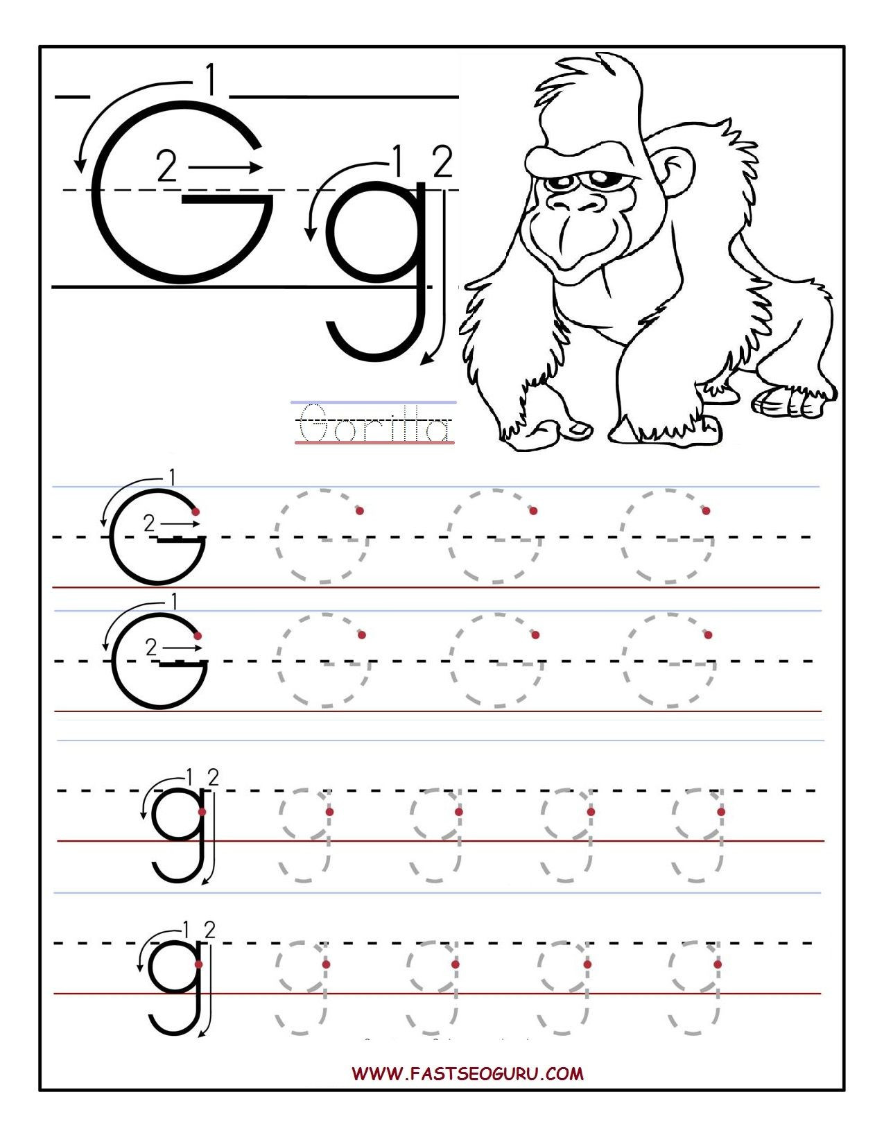 Preschool Letter G Worksheets Printable Letter G Tracing Worksheets for Preschool