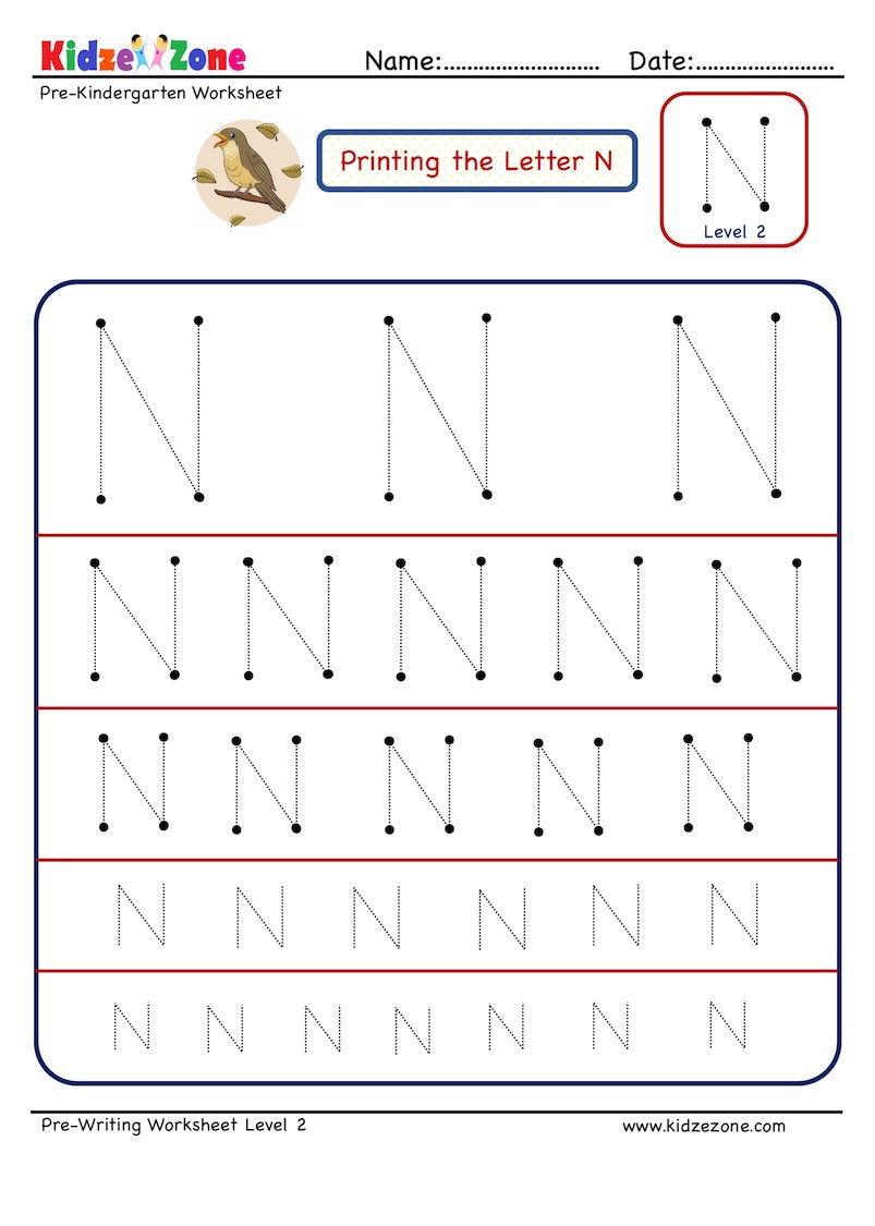 Preschool Letter N Worksheets Preschool Letter Tracing Worksheet Letter N Different