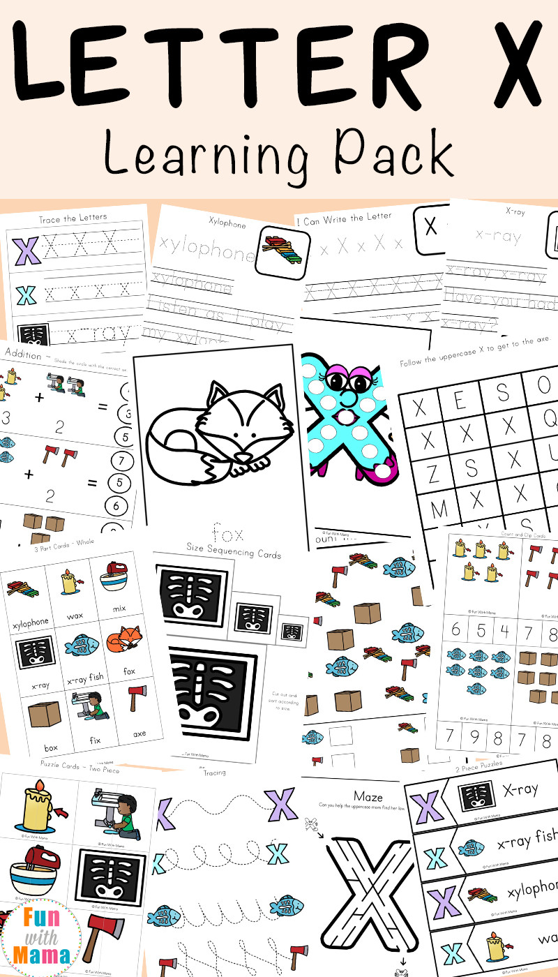 Preschool Letter X Worksheets Letter X Worksheets for Preschool Kindergarten Fun with Mama
