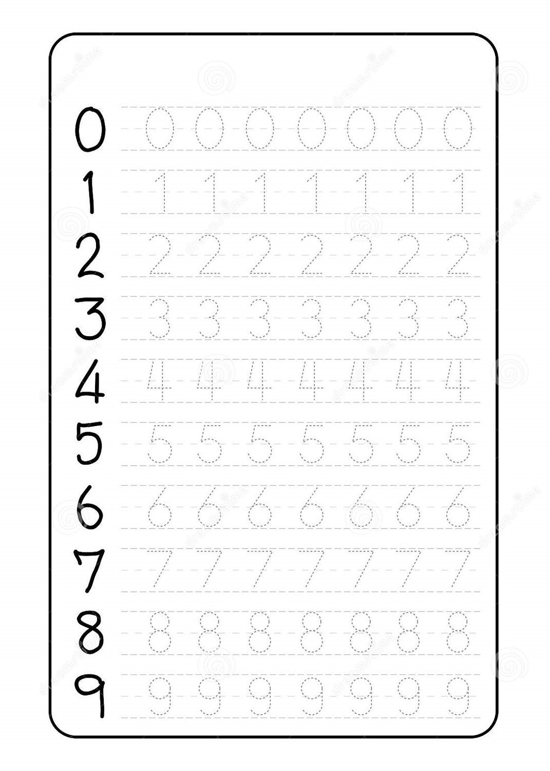 Preschool Number Tracing Number Trace Worksheets Preschool Tracing for Magic Math