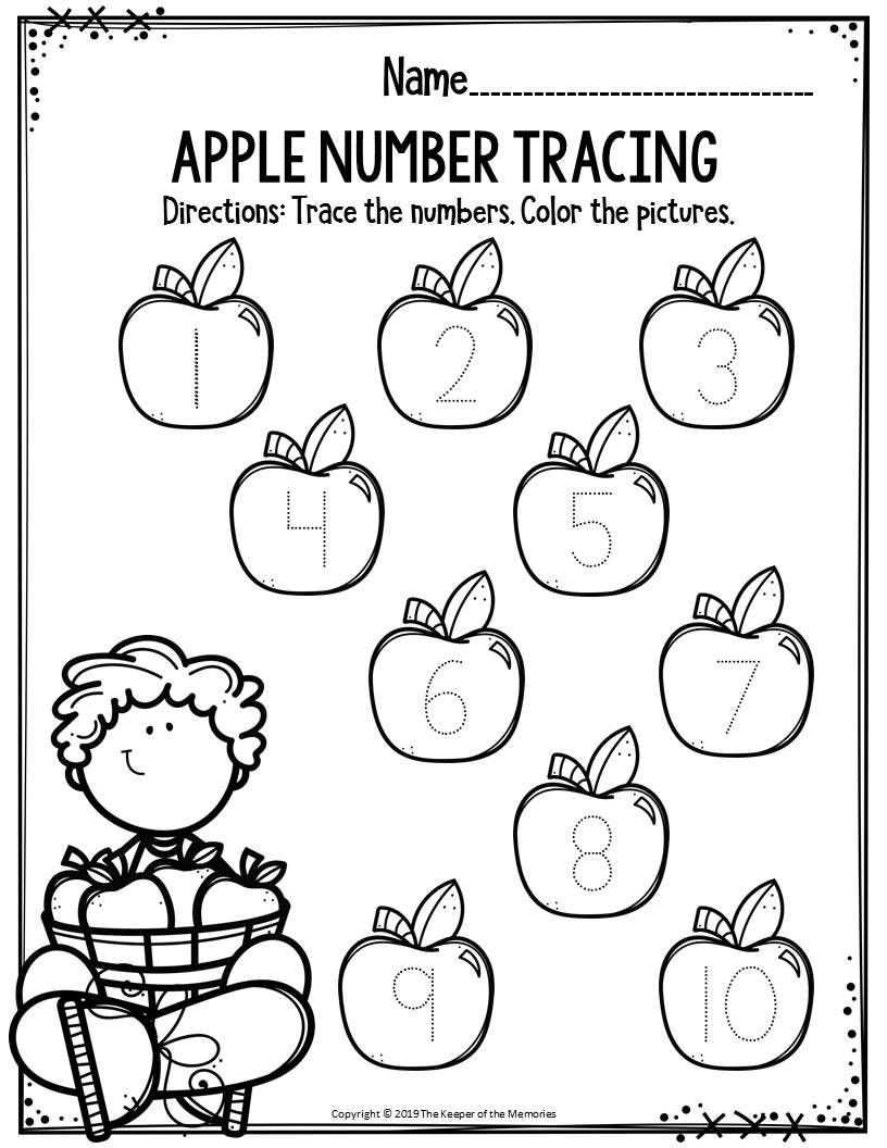Preschool Number Tracing Preschool Worksheets Apple Number Tracing the Keeper Of