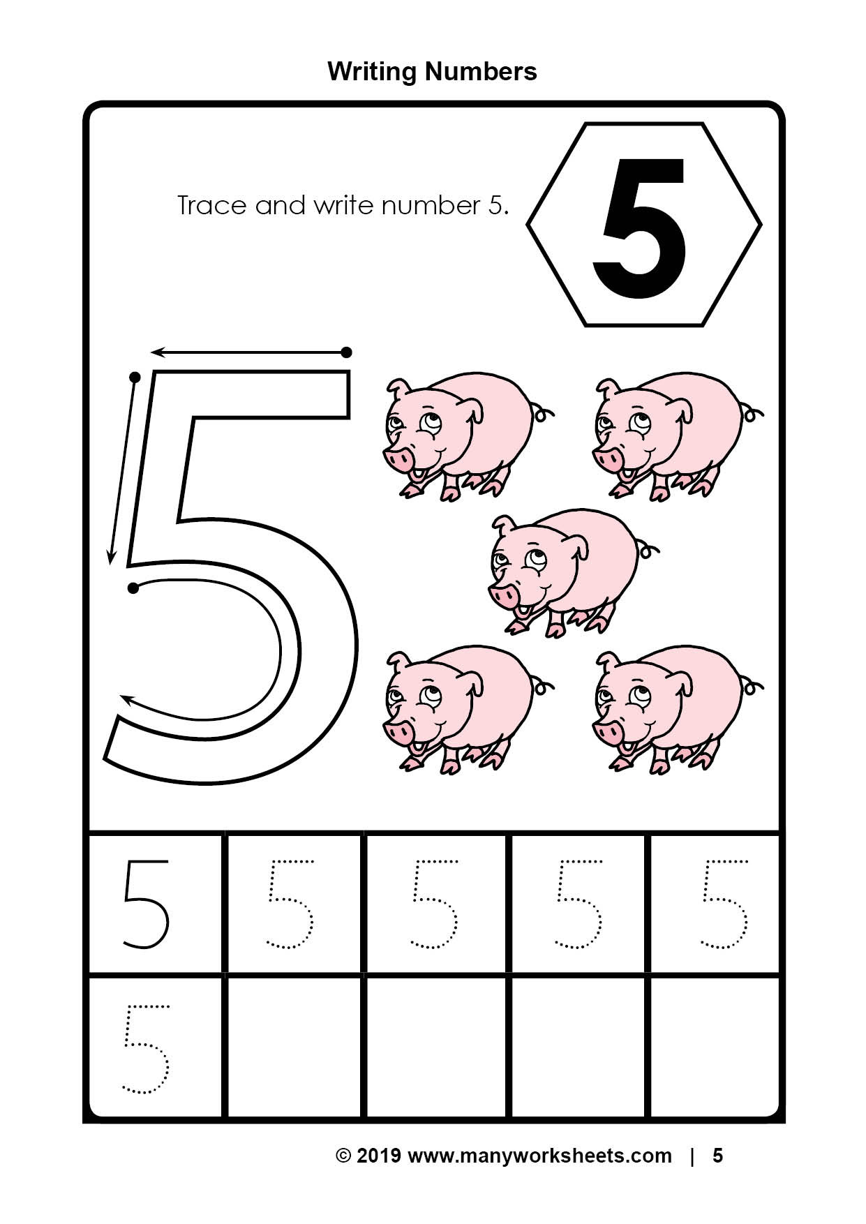 Preschool Number Tracing Tracing Number 5 Worksheets for Kindergarten