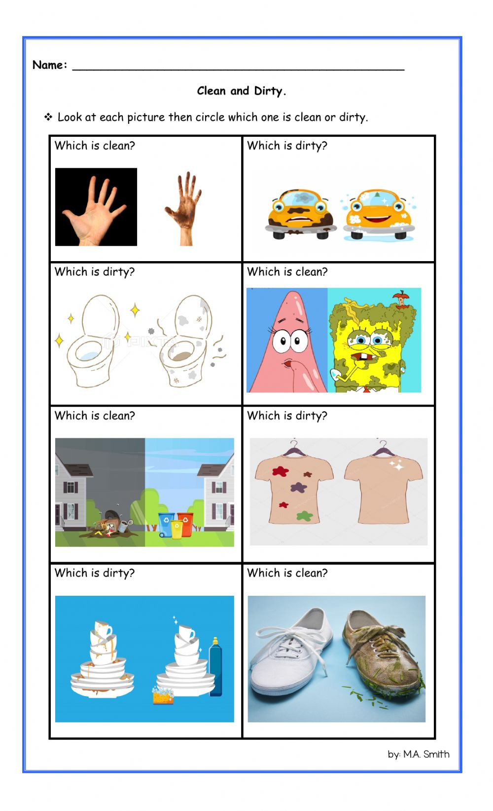 Preschool Opposite Worksheet Opposite Clean and Dirty Interactive Worksheet