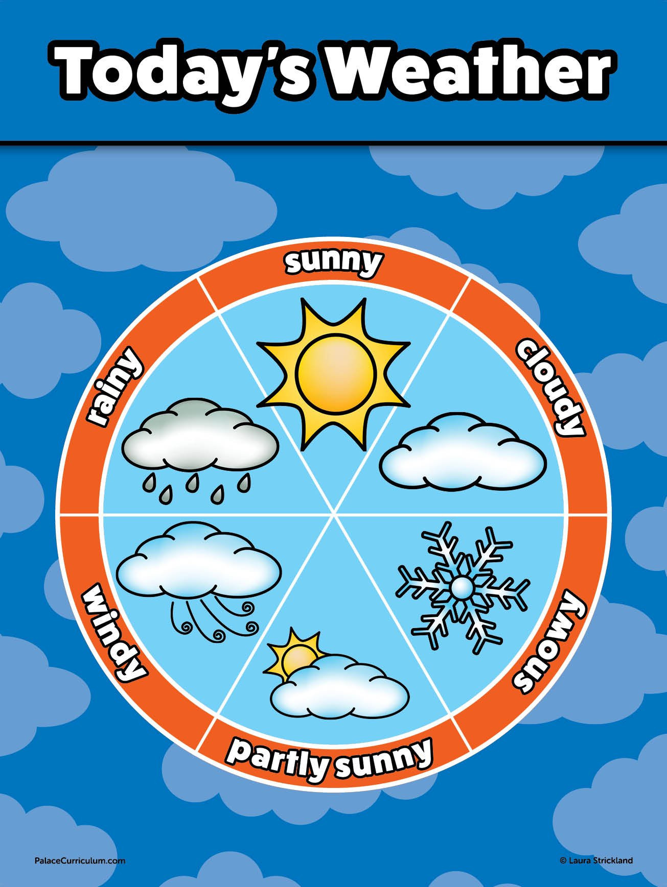 "Preschool Palace Curriculum Weather Chart for Kids Laminated 18"" X 24"""