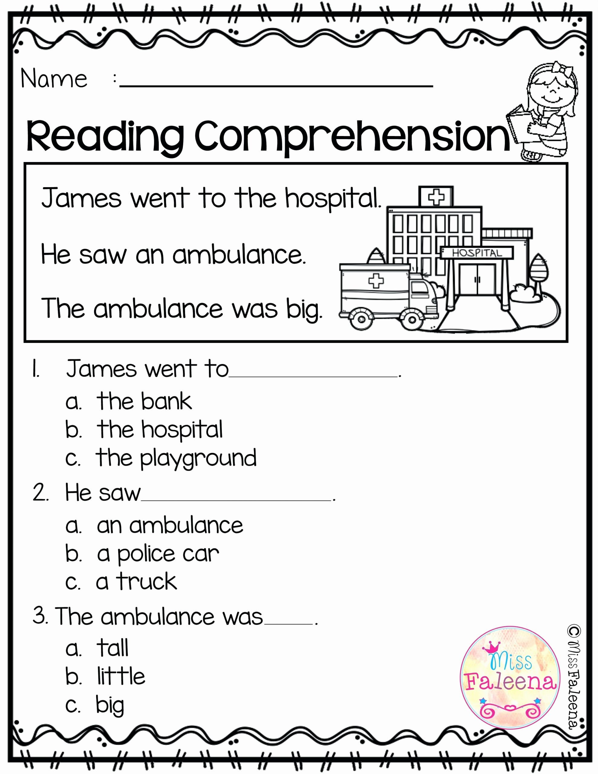 Preschool Reading Comprehension Worksheets Learn Line Kindergarten Grade Reading Worksheets