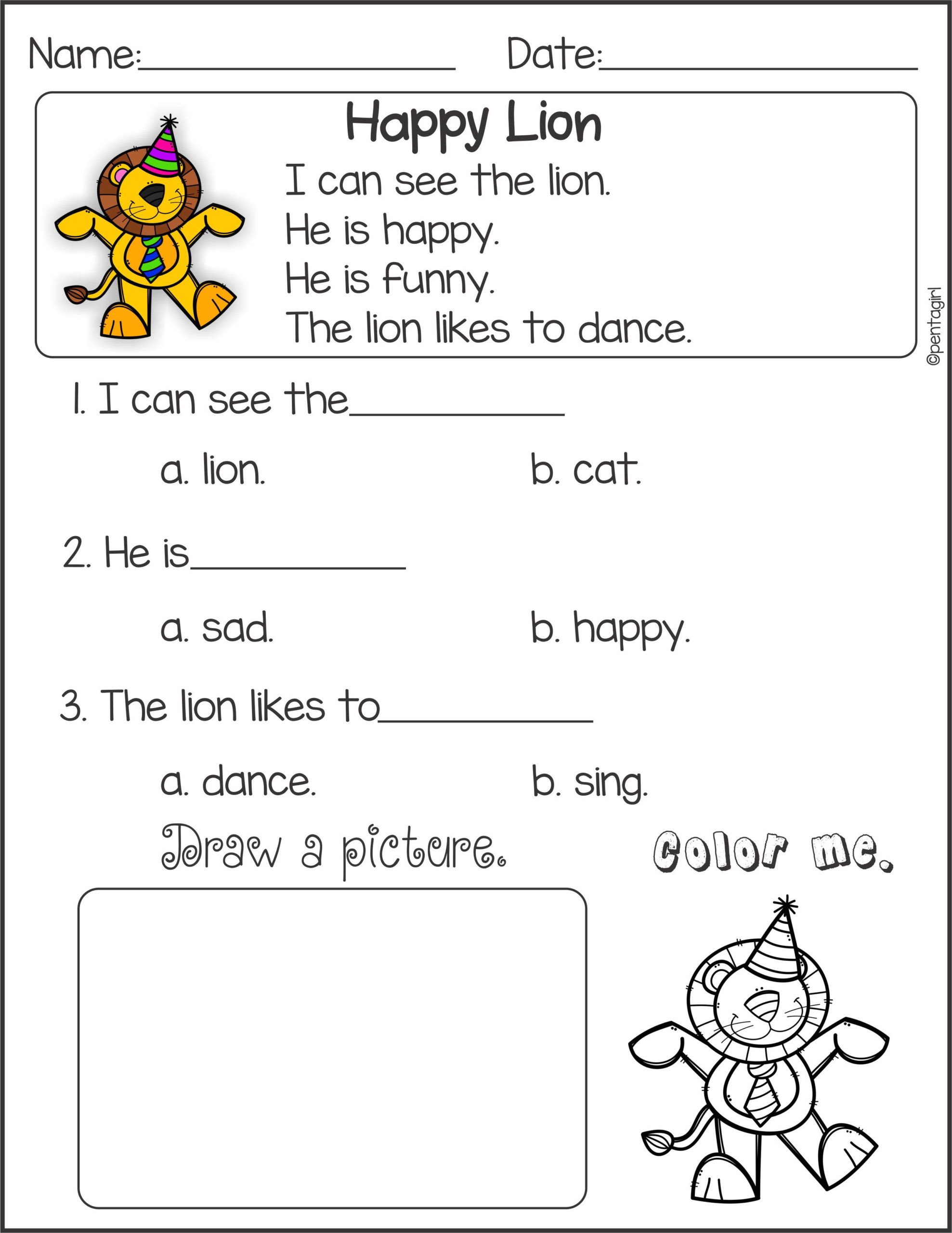Preschool Reading Comprehension Worksheets Math Worksheet Math Worksheet Printable Kindergarten