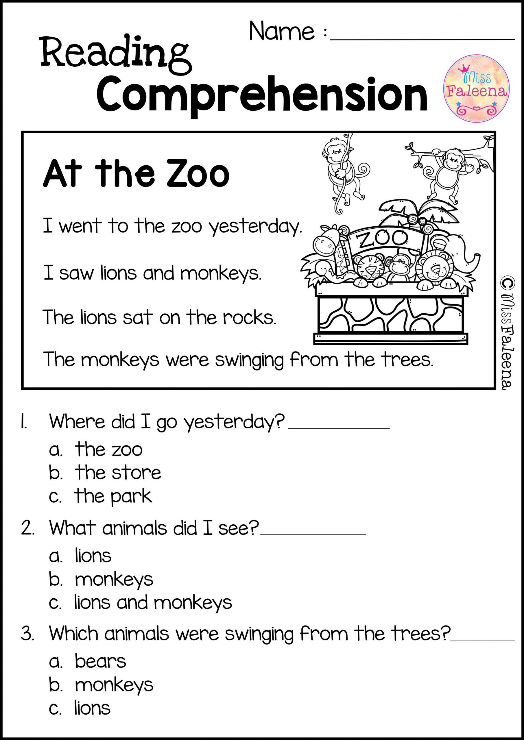 Preschool Reading Comprehension Worksheets Reading Prehension Set 2