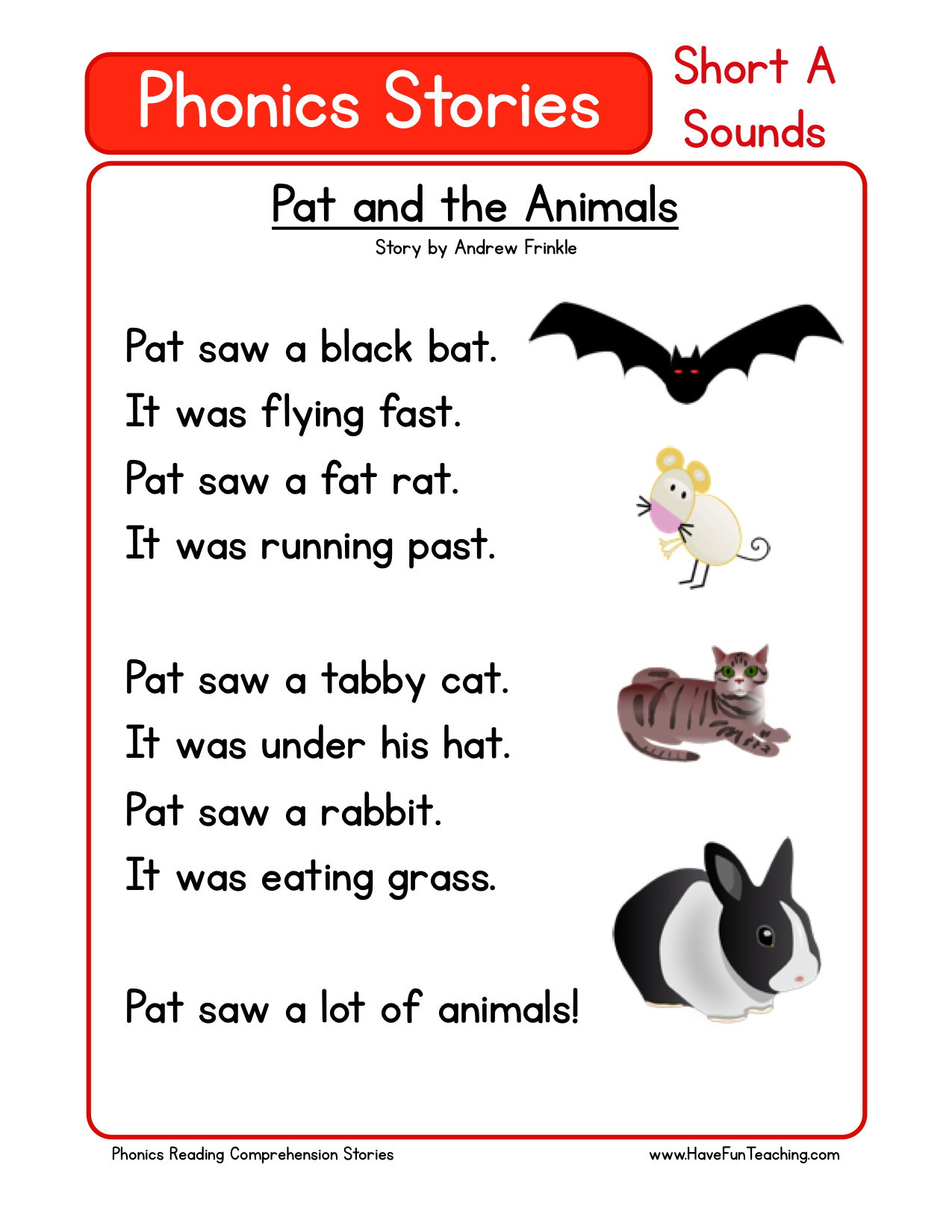 Preschool Reading Comprehension Worksheets Reading Prehension Worksheet Pat and the Animals