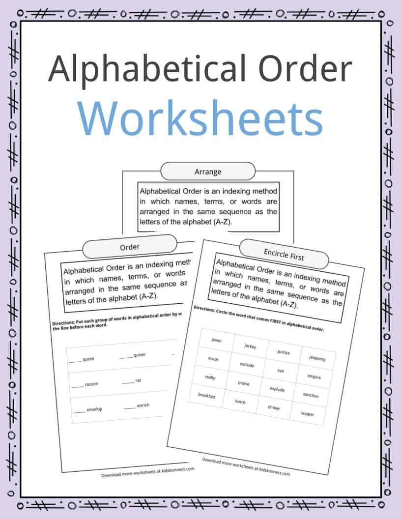 Printable Abc order Worksheets Alphabetical order Worksheets Examples & Definition