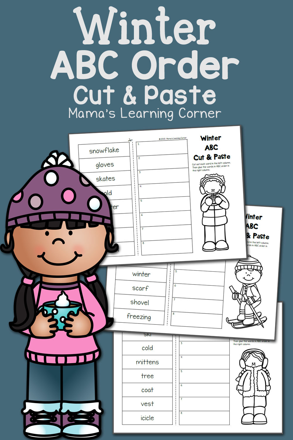 Printable Abc order Worksheets Winter Cut and Paste Abc order Mamas Learning Corner