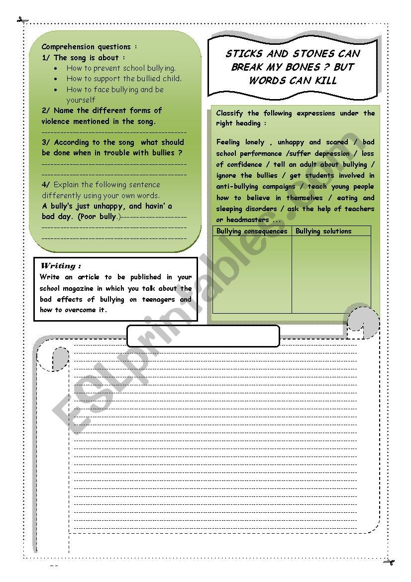 Printable Bullying Worksheets Anti Bullying Esl Worksheet by Anissa Jendoubi
