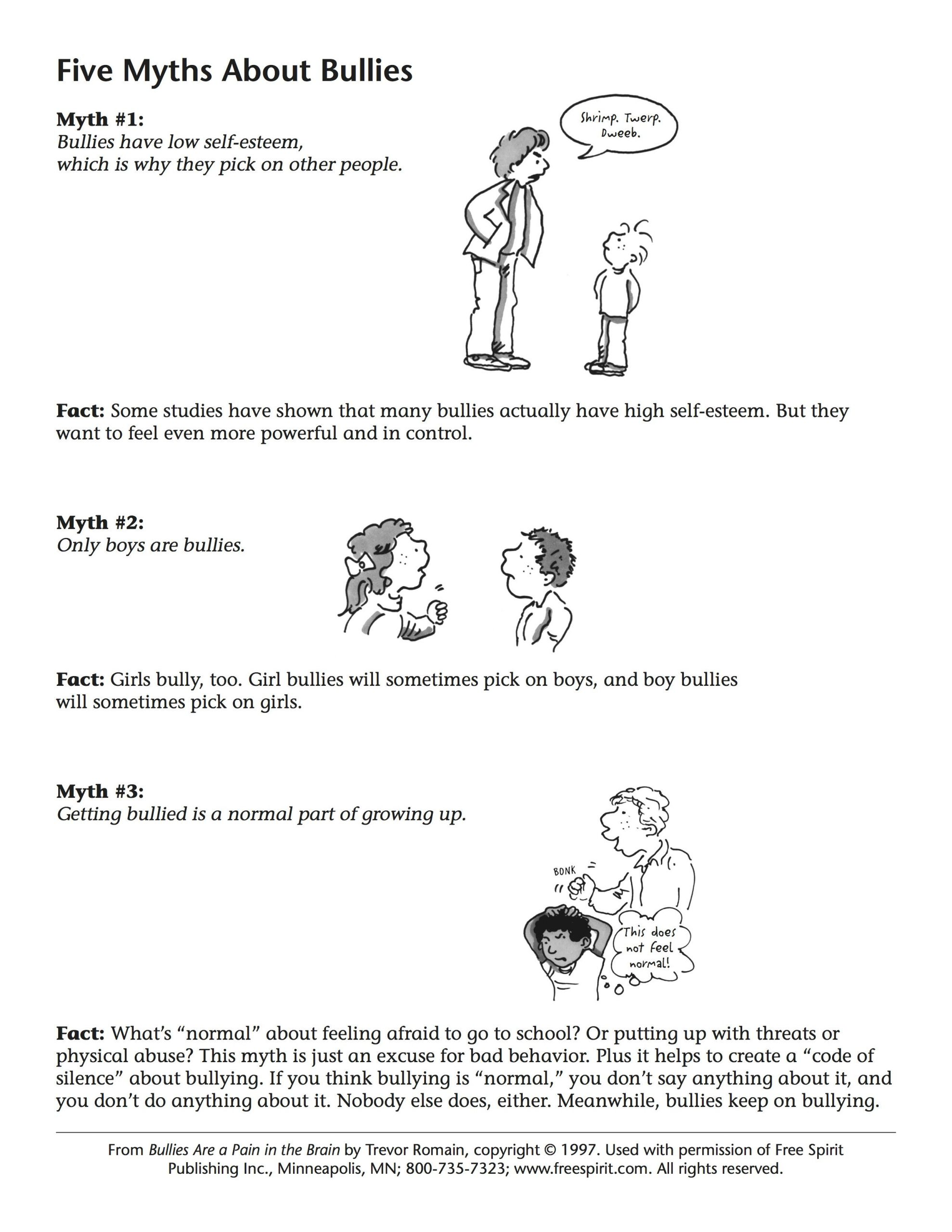 Printable Bullying Worksheets Free Bullying Prevention Printable Handout for Teachers