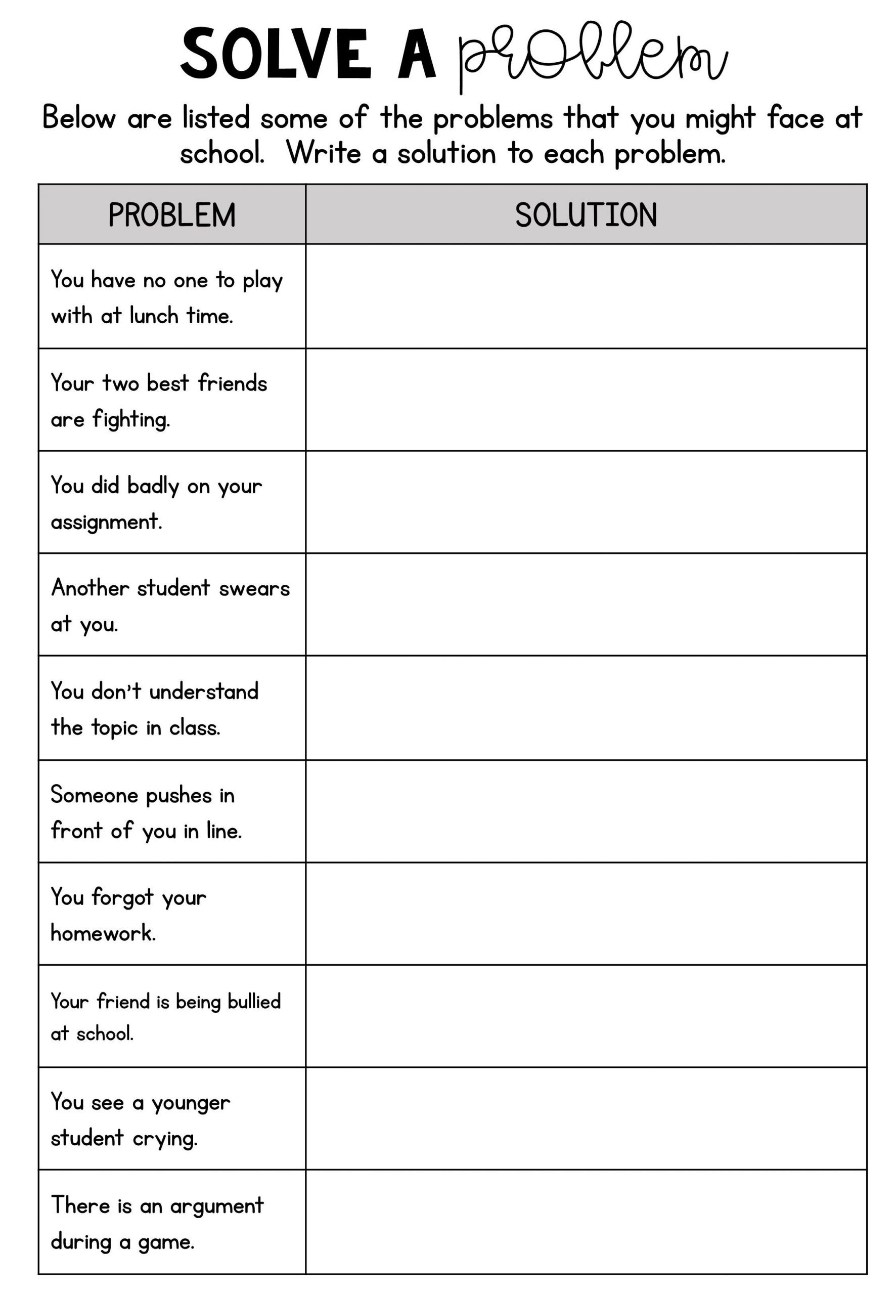 Printable Bullying Worksheets Help to Tackle Bullying and Rid Of Negative thoughts by
