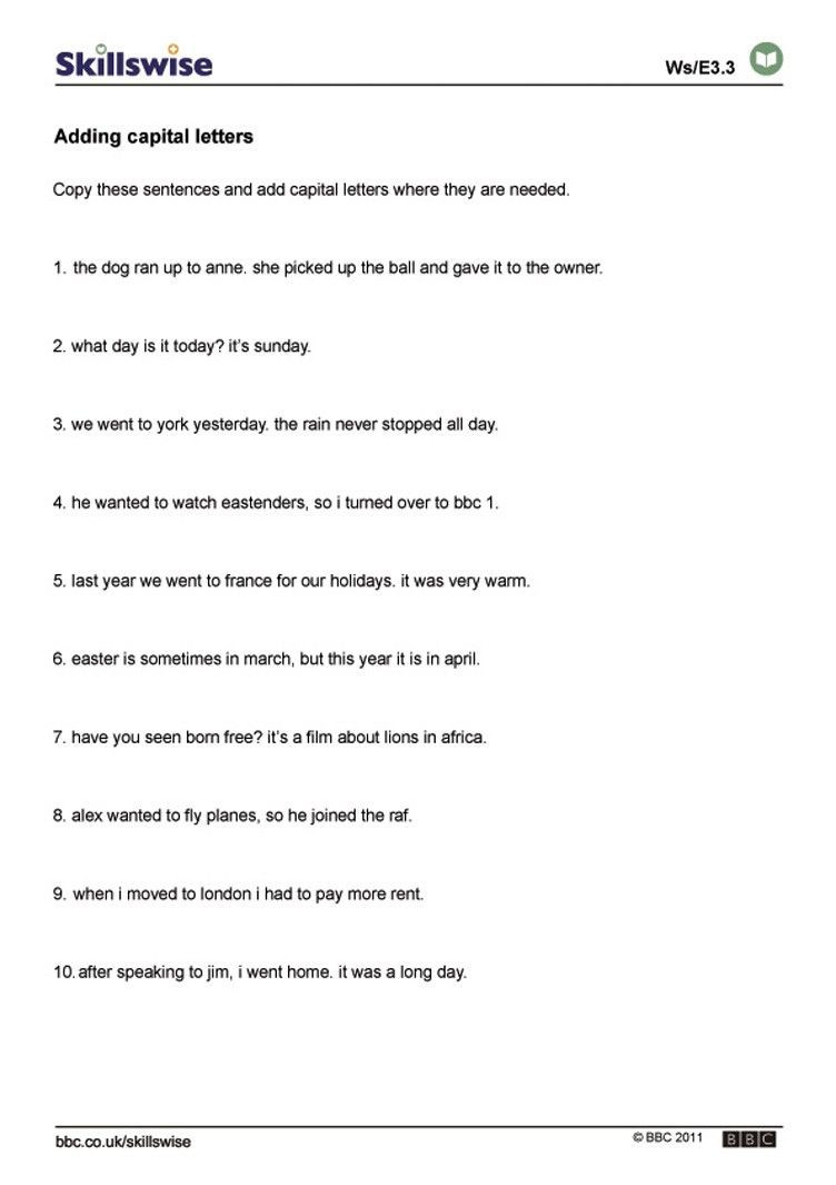 Printable Capitalization Worksheets Best Worksheets by Lura