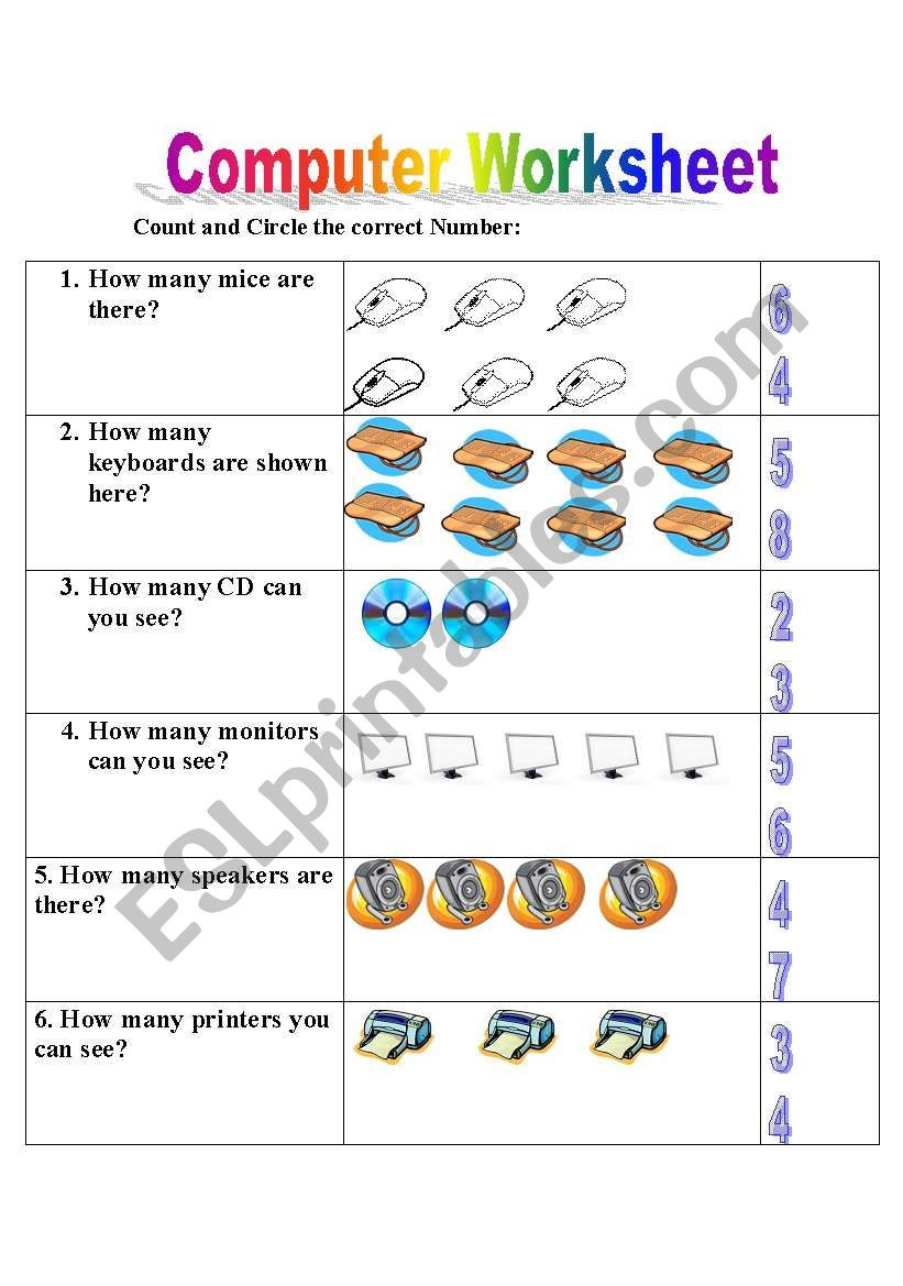 Printable Computer Worksheets English Worksheets Puter Worksheet Lesson Arithmetic
