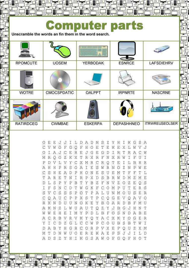 Printable Computer Worksheets Wordsearch Puter Parts English Esl Worksheets for