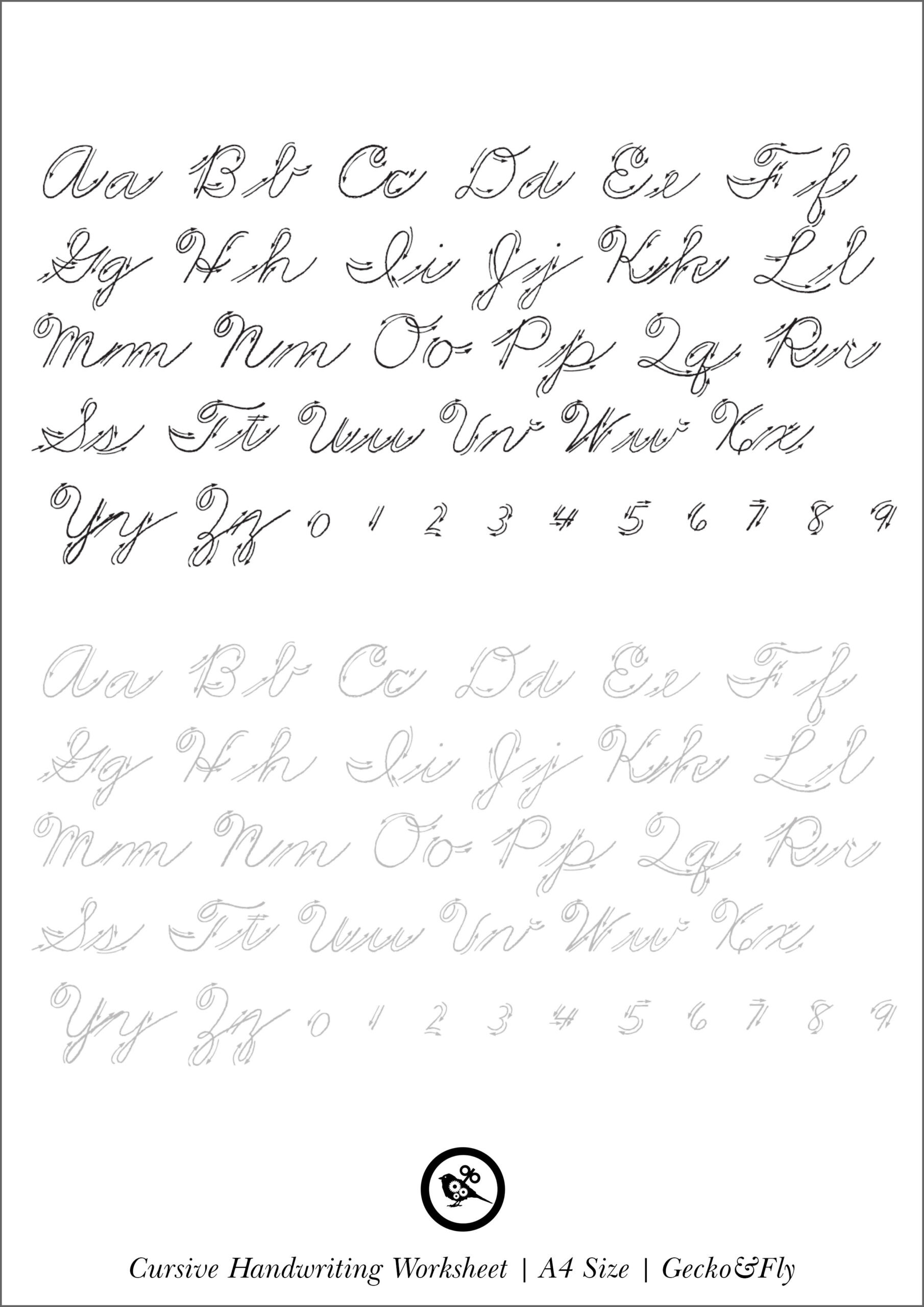 Printable Cursive Alphabet Chart Worksheets Printable Cursive Handwriting Worksheets for