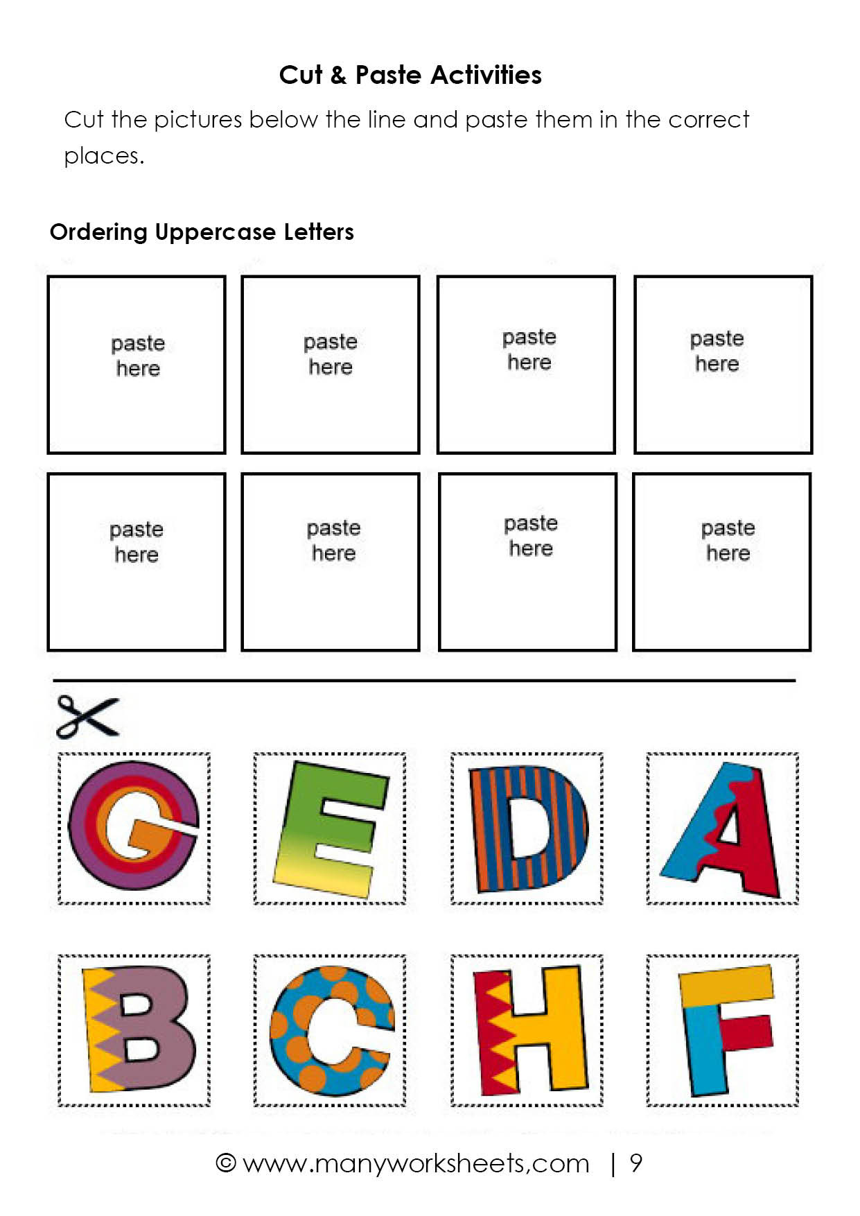 Printable Cut and Paste Worksheets Alphabet Cut and Paste Activities Worksheets