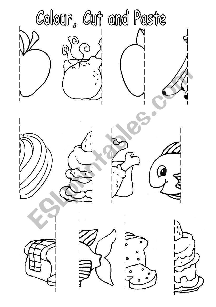 Printable Cut and Paste Worksheets Colour Cut and Paste Food Esl Worksheet by sophia13
