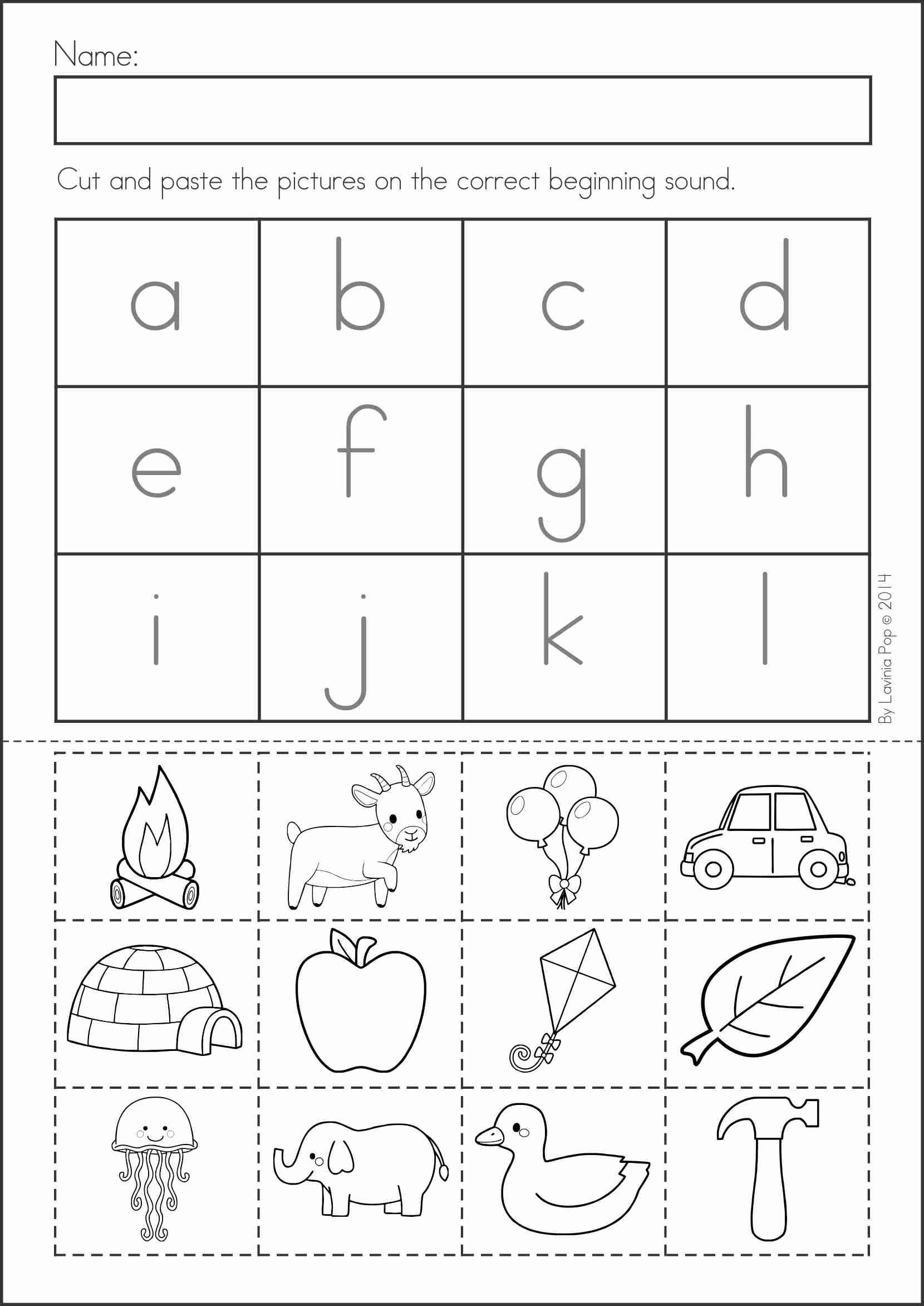 Printable Cut and Paste Worksheets Summer Review Kindergarten Math & Literacy Worksheets