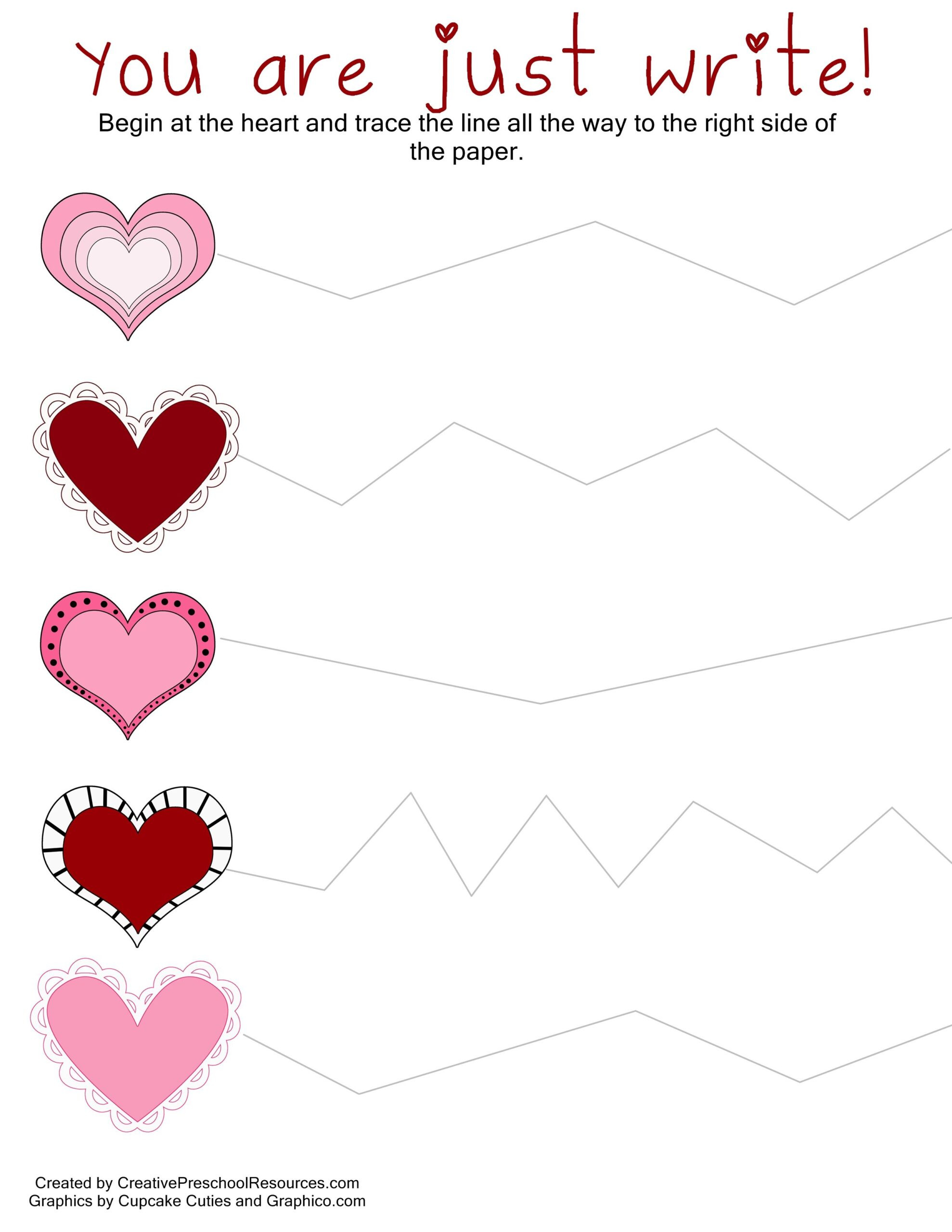 Printable Cutting Worksheets for Preschoolers Valentine Trace Cut Printables School Activities Preschool