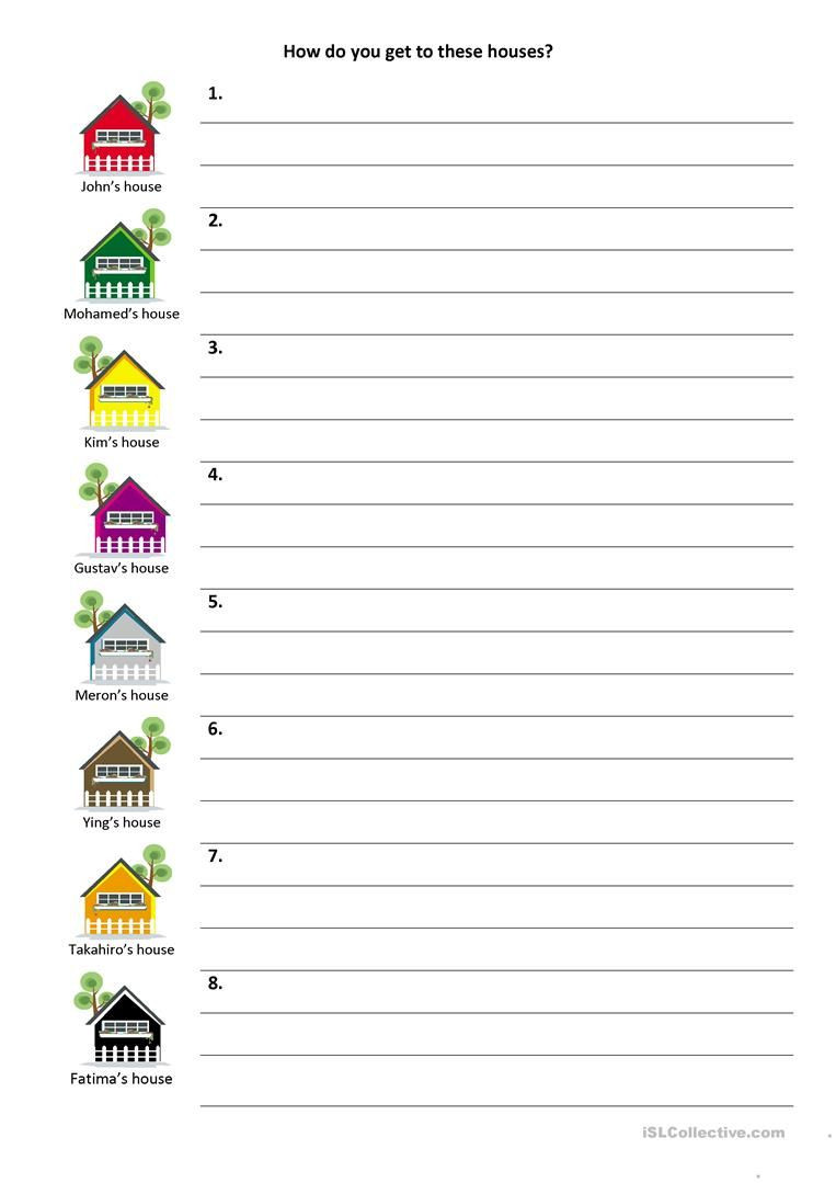 Printable Following Directions Worksheet Give and Follow Directions On A Map Worksheet Free Esl