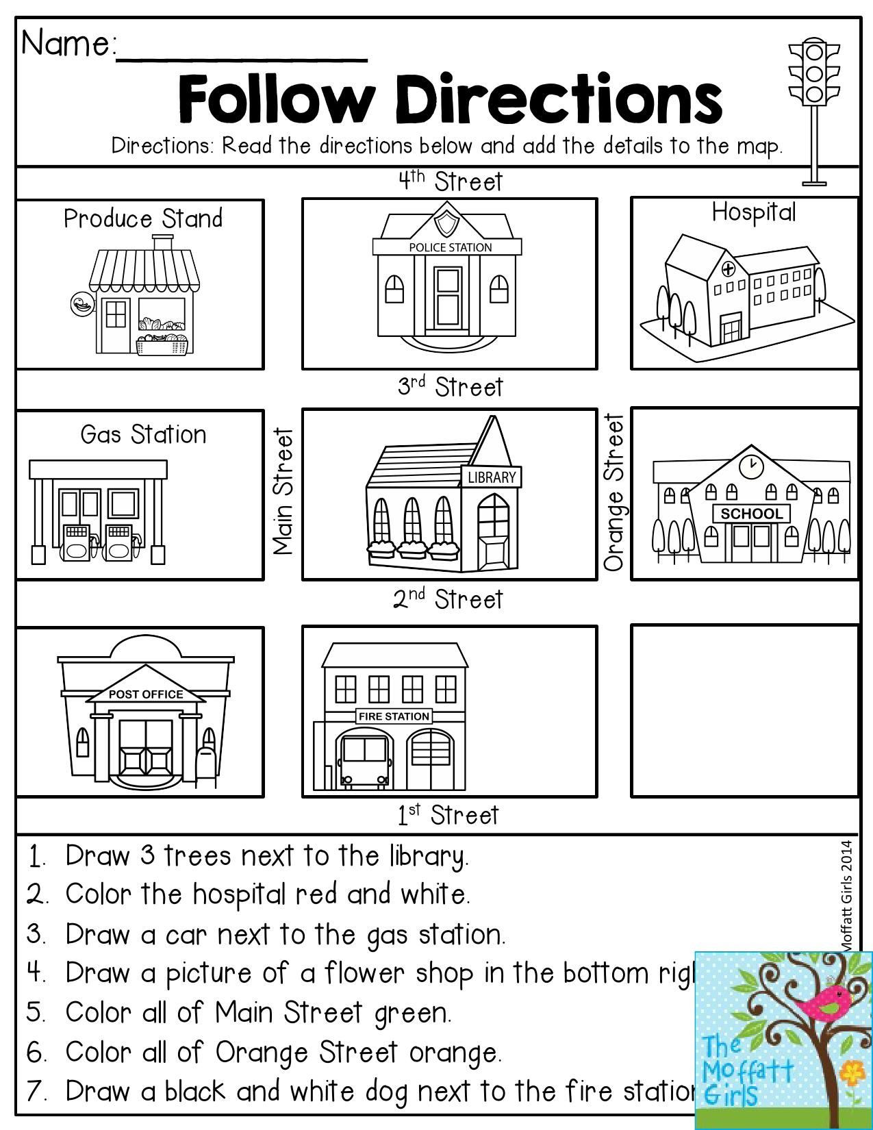 Printable Following Directions Worksheets Back to School Packets
