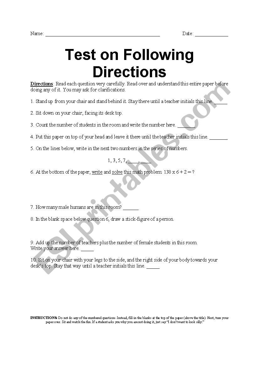 Printable Following Directions Worksheets Following Directions Test Esl Worksheet by Amyroller