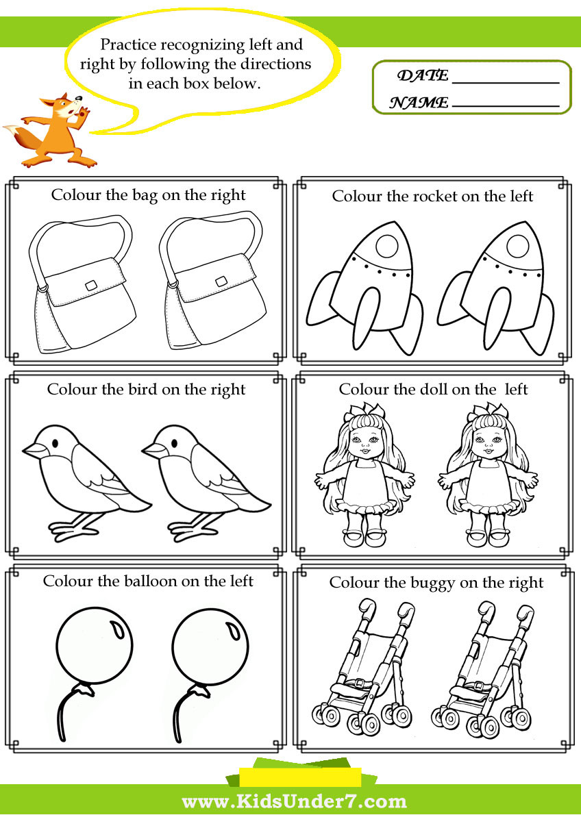 Printable Following Directions Worksheets Kids Under 7 Left and Right Worksheets