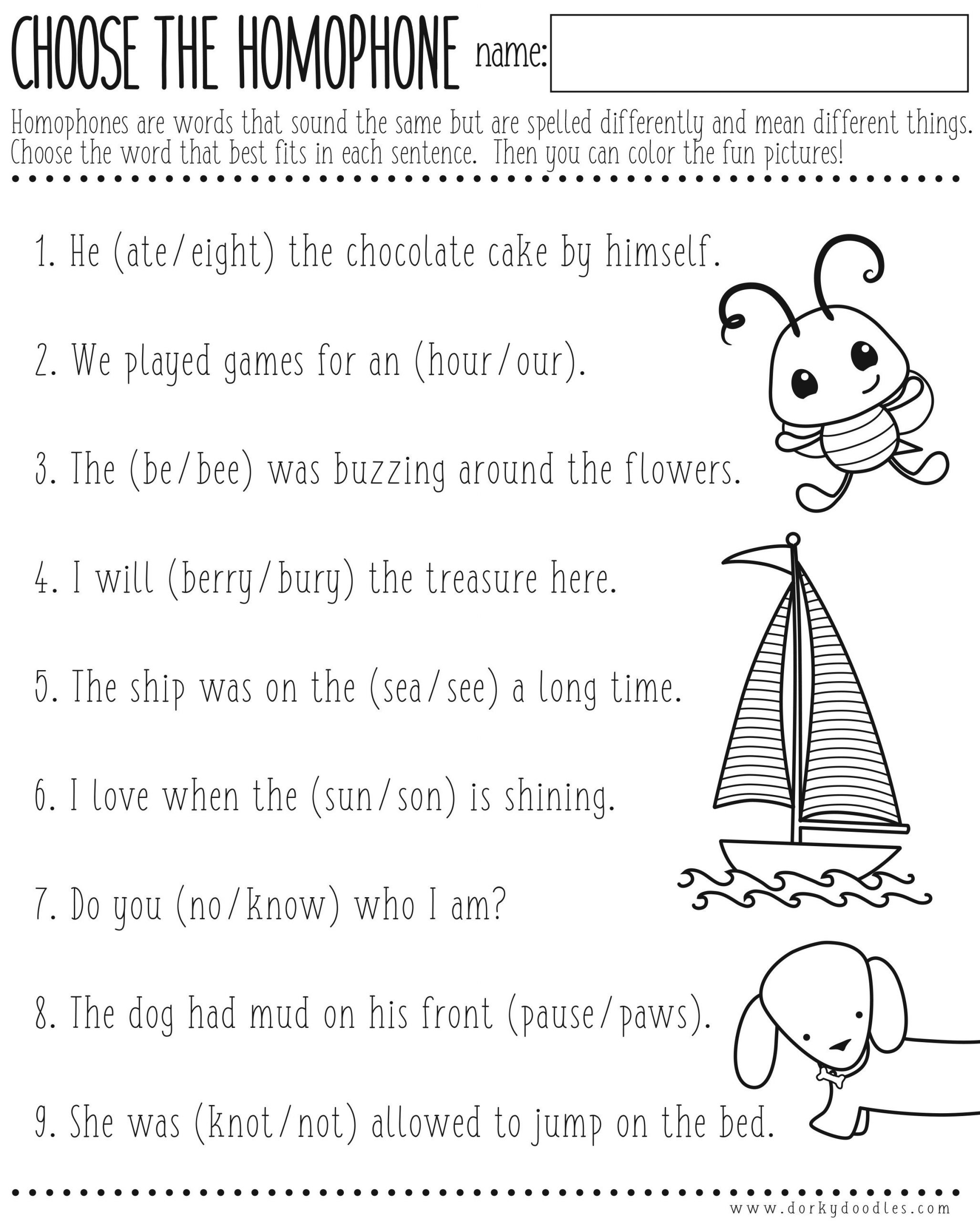 Printable Homophone Worksheets Homophones Worksheet Printable – Dorky Doodles