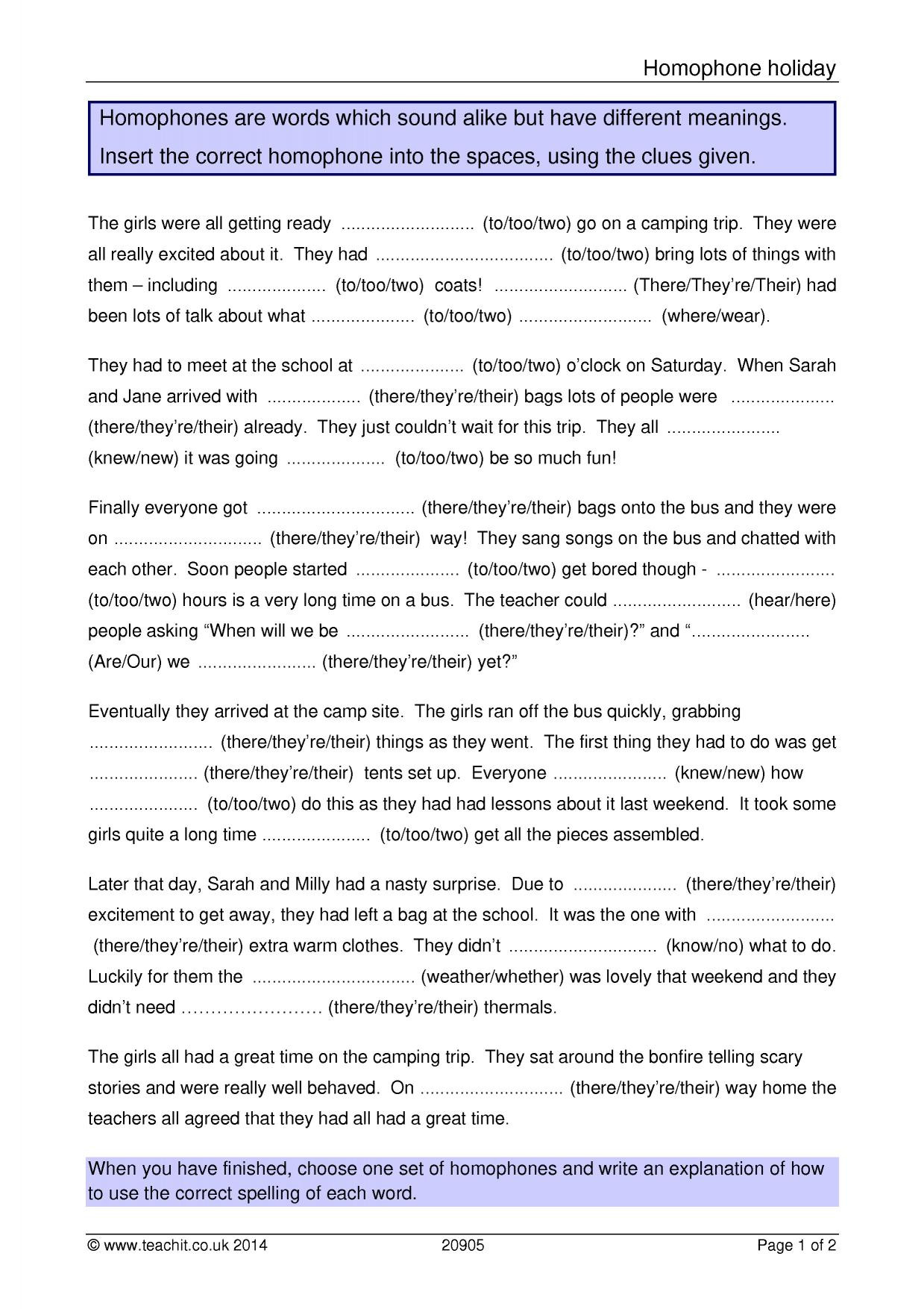Printable Homophone Worksheets Homophones Worksheet Year 3