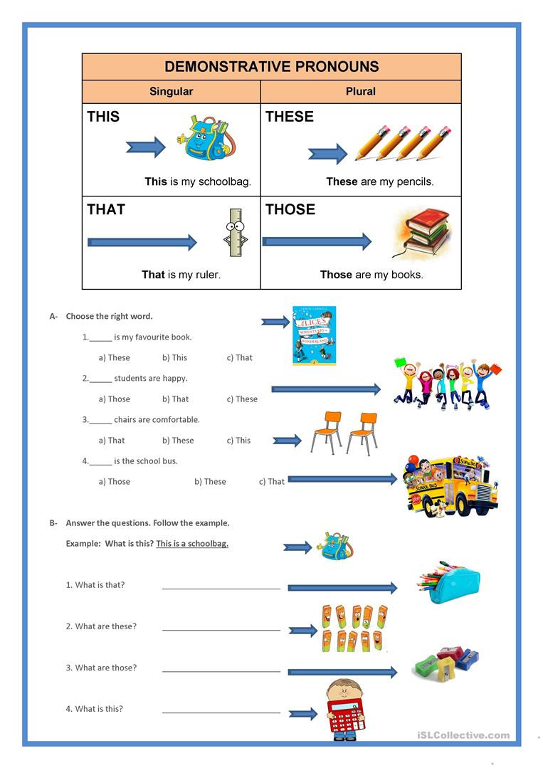 Printable Pronouns Worksheets Demonstrative Pronouns English Esl Worksheets for Distance