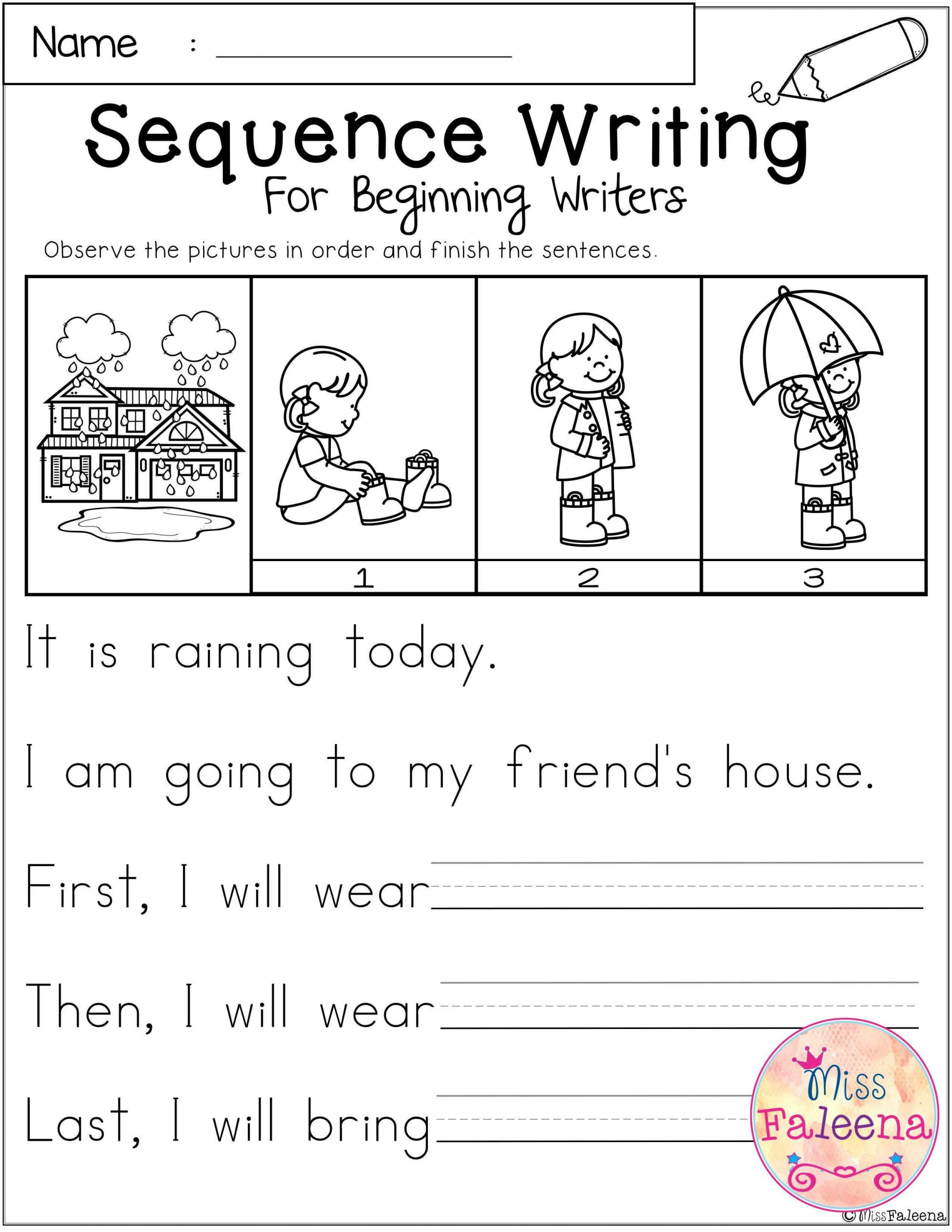 Printable Sequence Worksheets March Sequence Writing for Beginning Writers