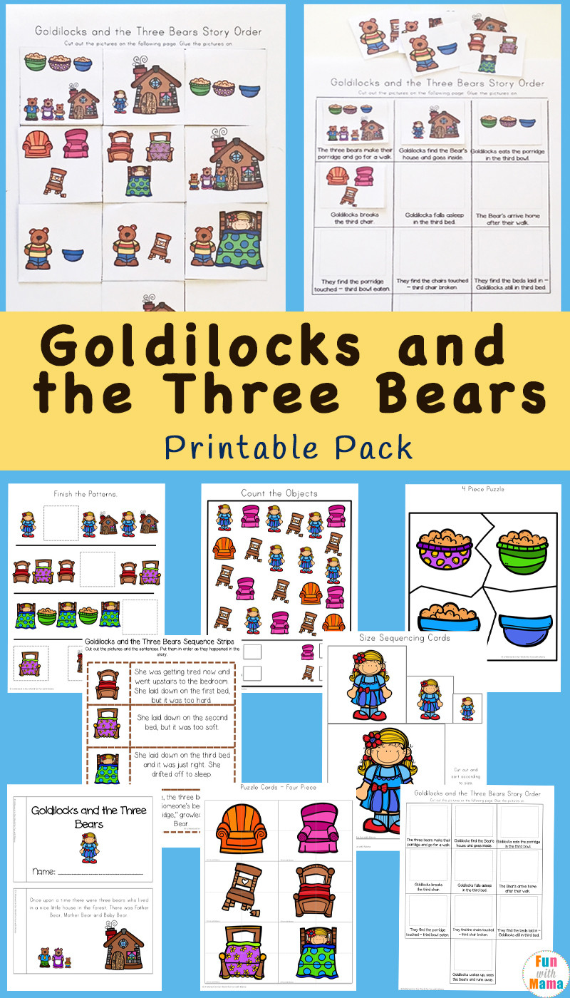Printable Sequencing Worksheets Goldilocks and the Three Bears Printable Pack Fun with Mama