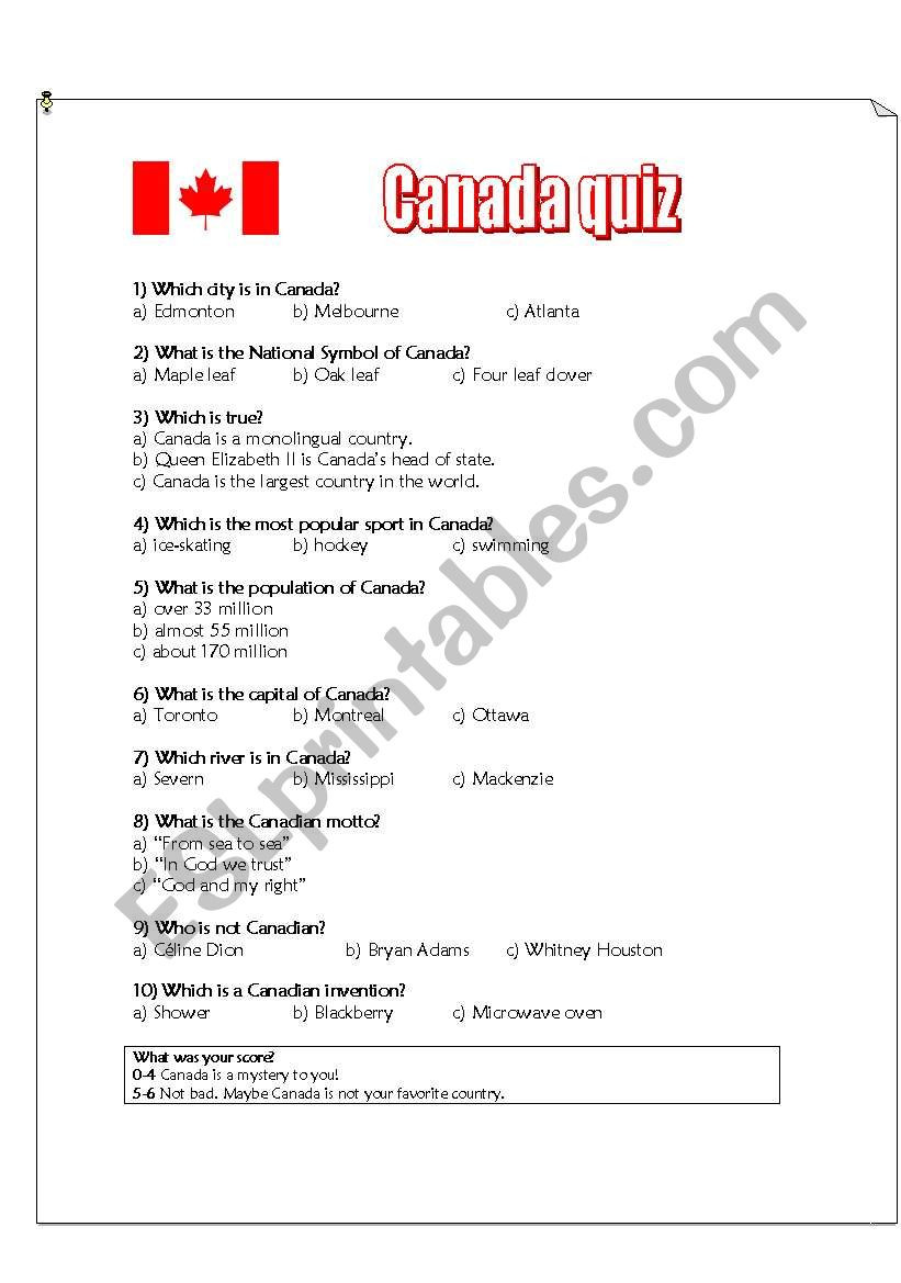 Printable State Capitals Quiz Canada Quiz Esl Worksheet by Dianasuzuki