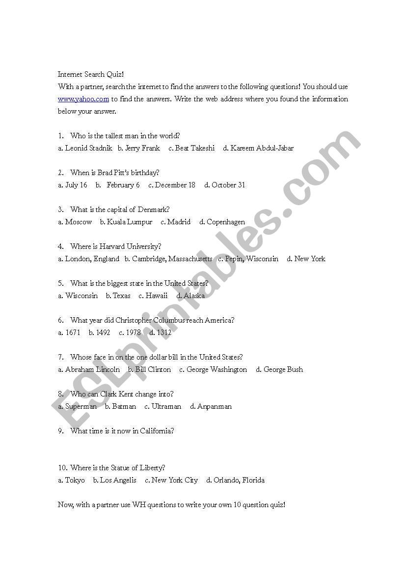 Printable State Capitals Quiz Internet Search Quiz Esl Worksheet by Jerroldjfrank